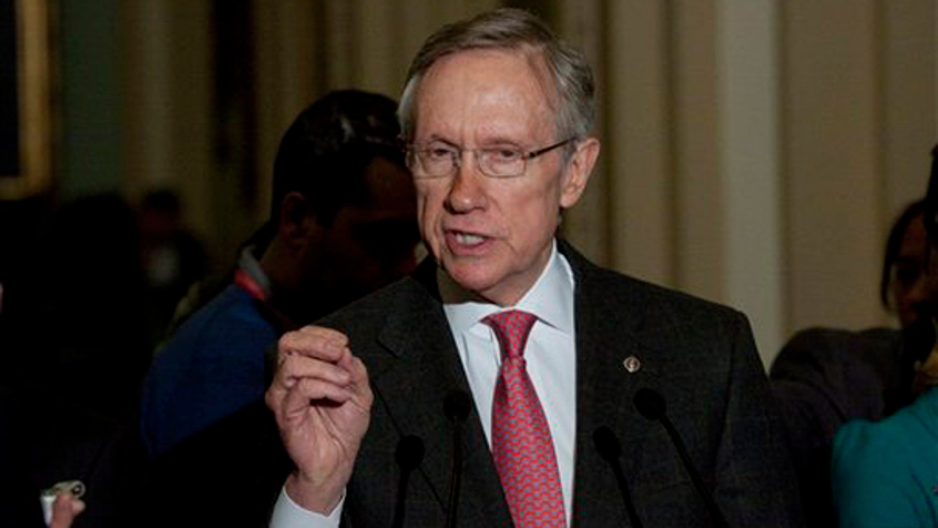 Senate Majority Leader Harry Reid of Nev., speaks to reporters after the weekly caucus luncheons on Capitol Hill in Washington, Tuesday, March 2, 2010. (AP)