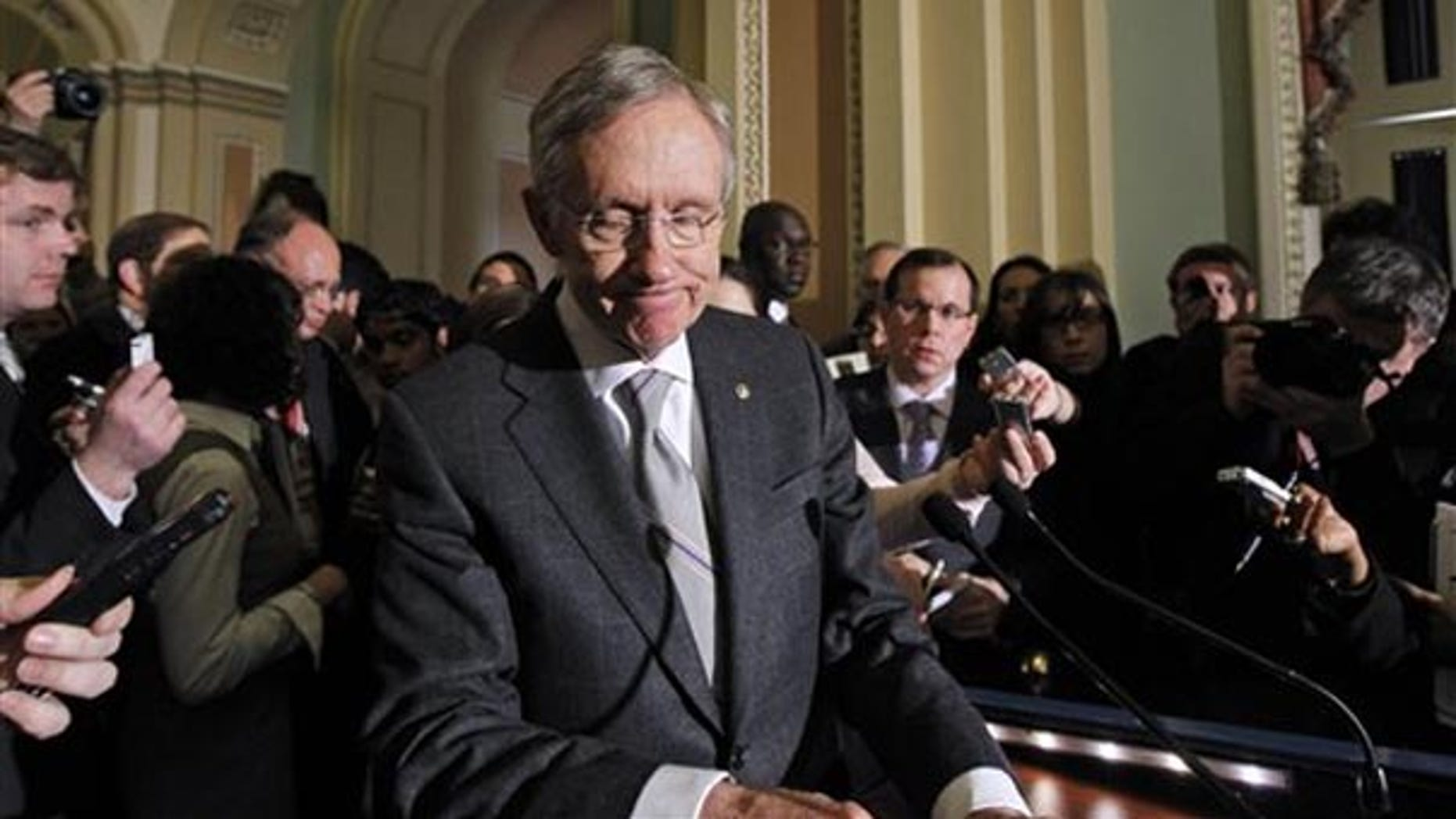 Tuesday: Senate Majority Leader Sen. Harry Reid Nev. turns away after talking to reporters on Capitol Hill.