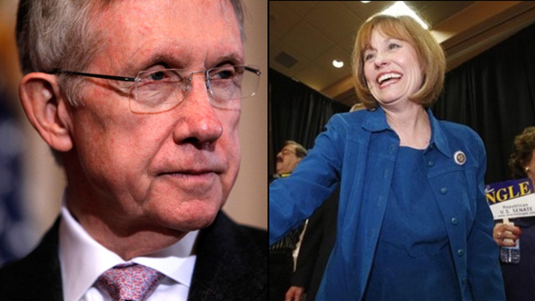 Senate Majority Leader Harry Reid is taking on Tea Party darling Sharron Angle in the November midterm elections. (AP)