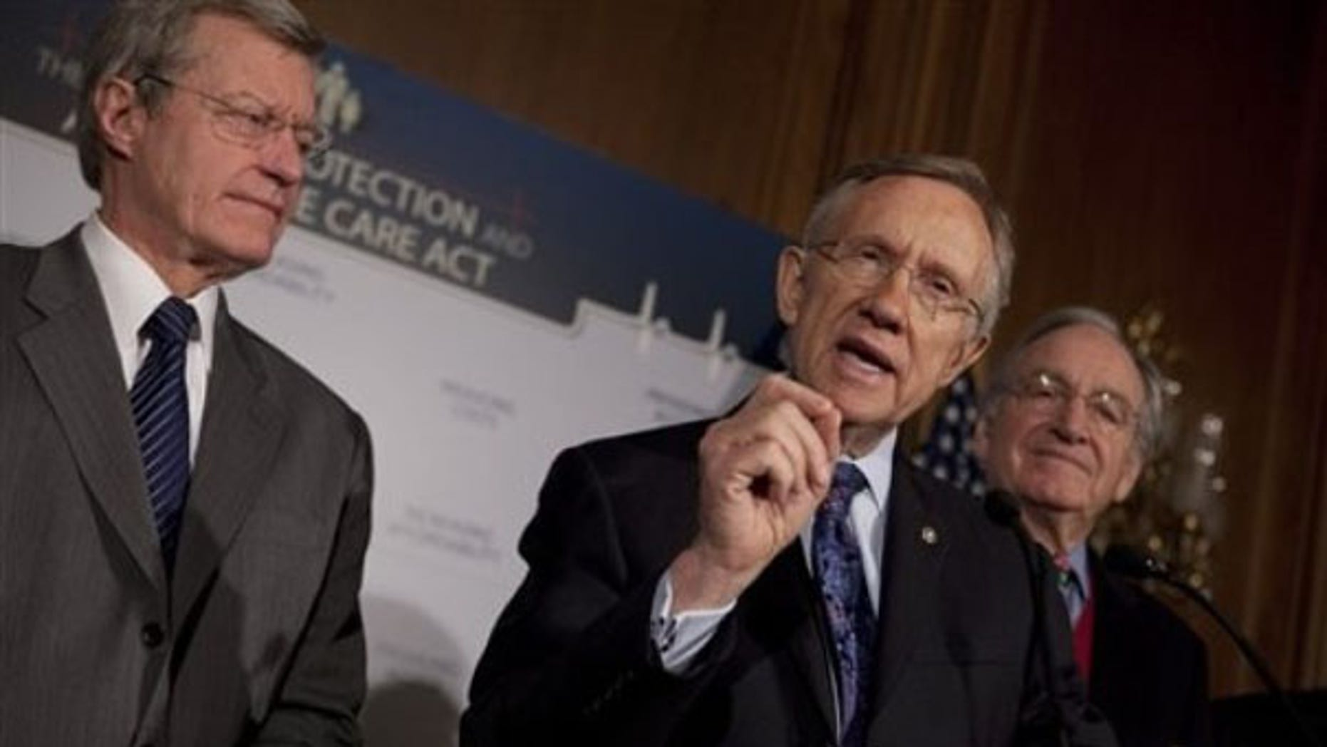 Senate Majority Leader Harry Reid, center, along with Sen. Max Baucus, left, and Sen. Tom Harkin, gestures during a health care news conference on Capitol Hill Dec. 21. (AP Photo)