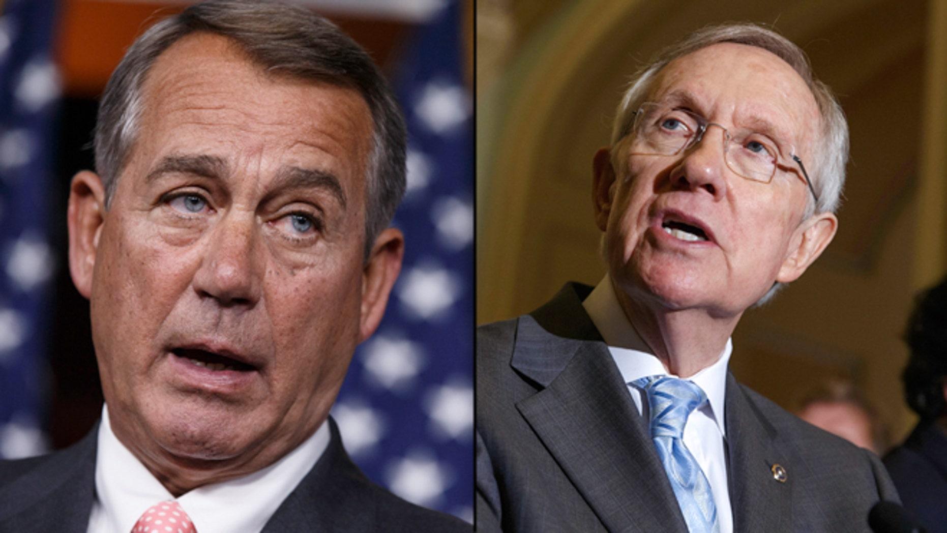 Shown here are House Speaker John Boehner, left, and Senate Majority Leader Harry Reid.