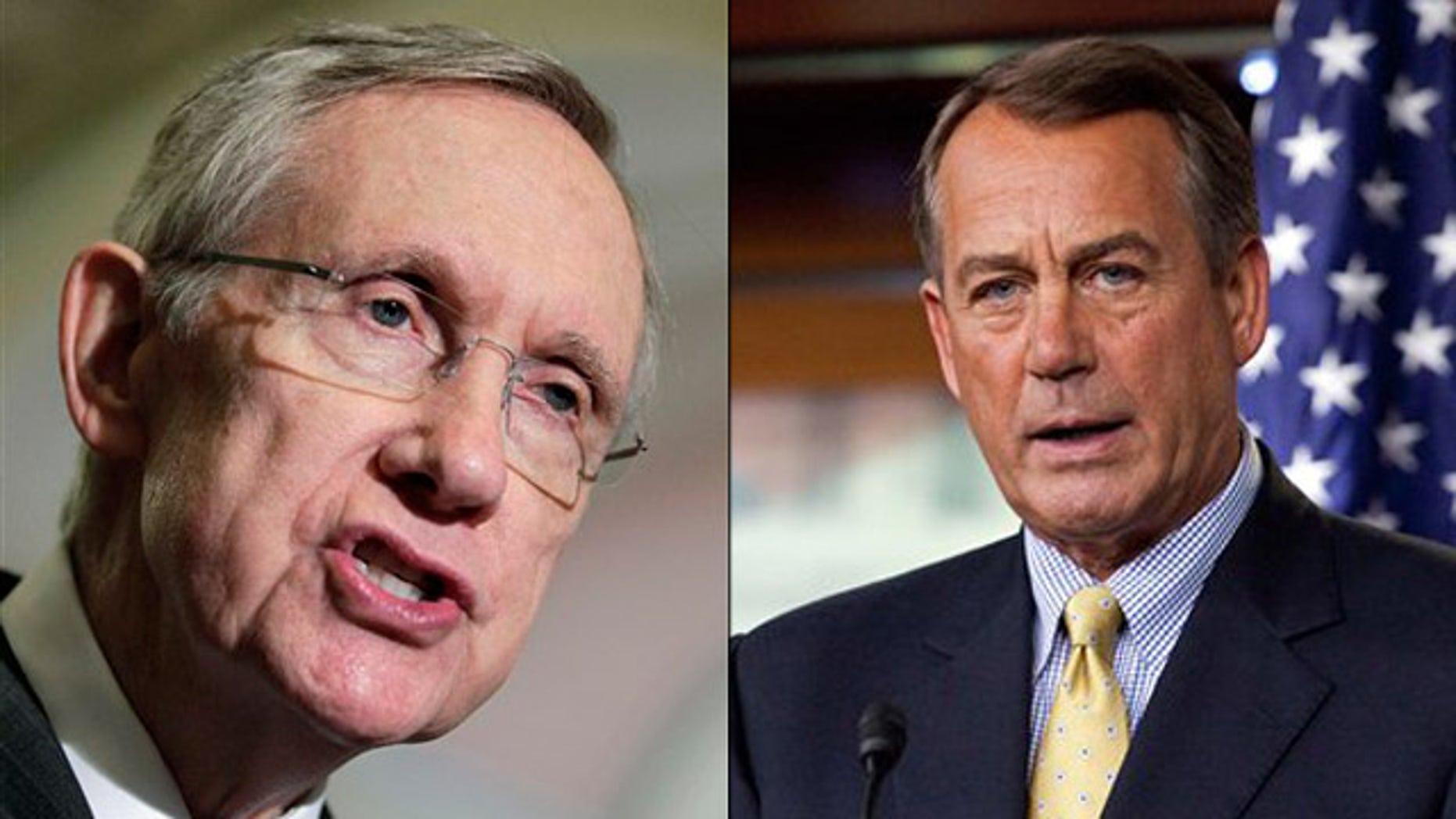 Shown here are Senate Majority Leader Harry Reid, left, and House Speaker John Boehner.