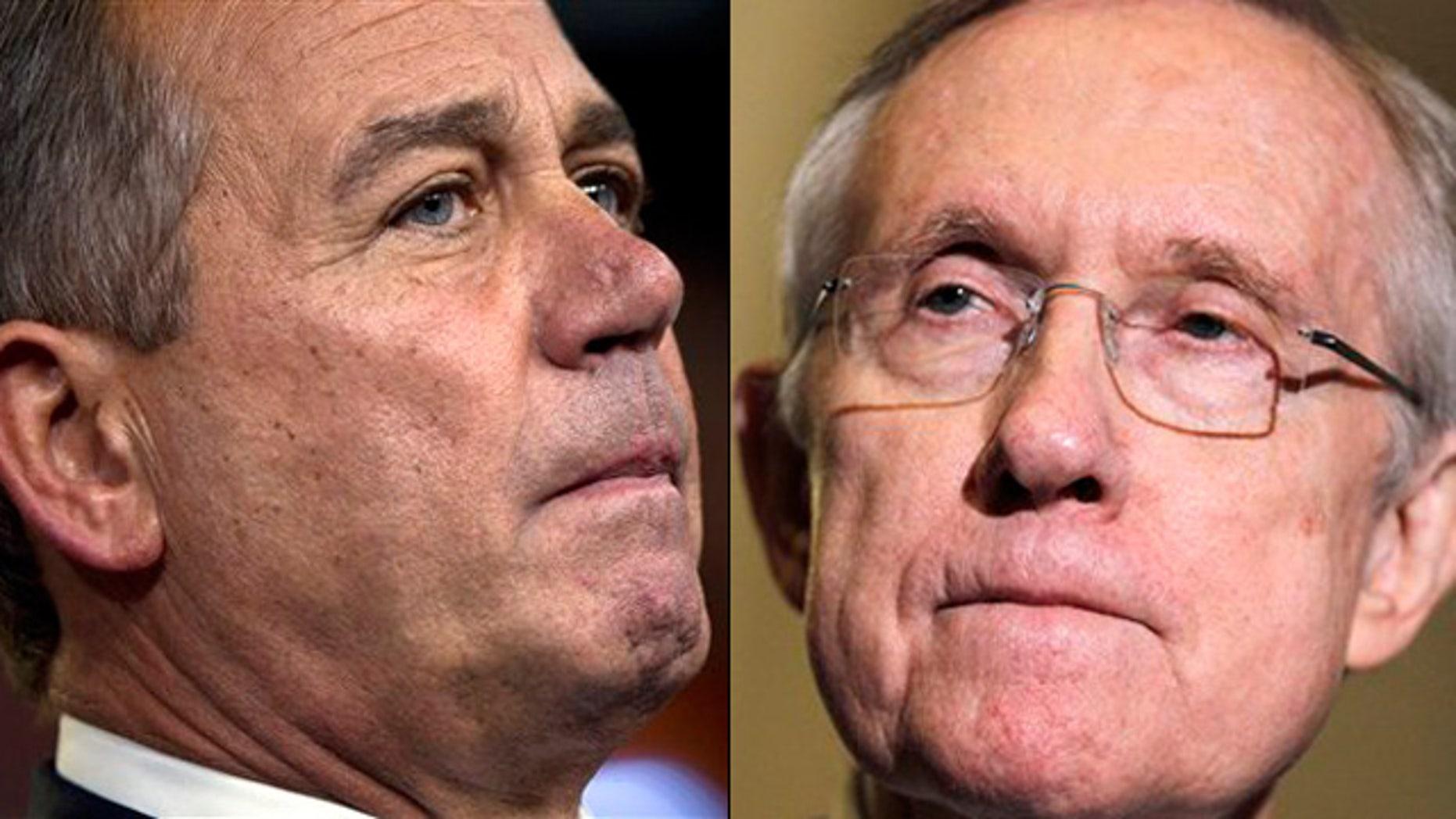 Shown here are House Speaker John Boehner, left, and Senate Democratic Leader Harry Reid.