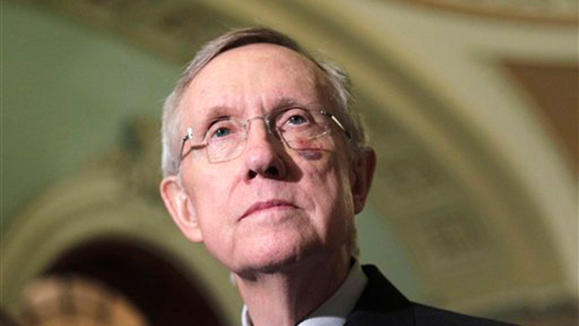 Senate Majority Leader Harry Reid speaks to reporters on Capitol Hill in Washington May 24.
