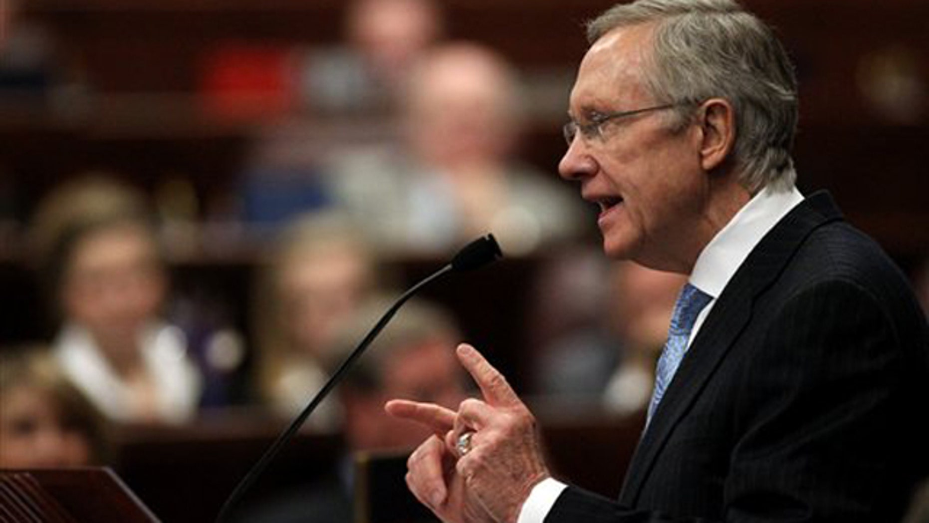 Senate Majority Leader Harry Reid speaks to a joint session of the Nevada Legislature on Feb. 22 in Carson City, Nev.
