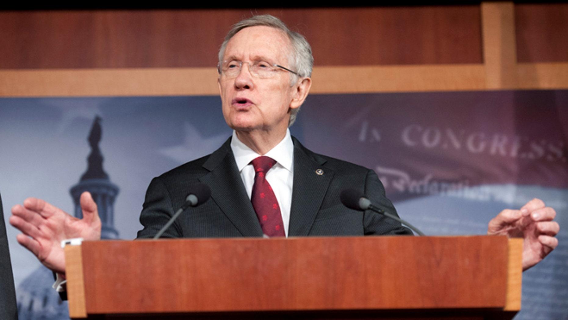 March 14, 2013: Senate Majority Leader Harry Reid speaks on Capitol Hill in Washington.
