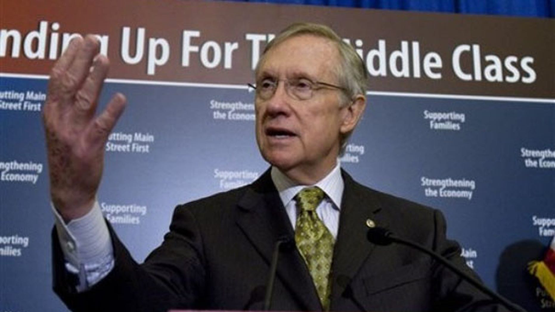 FILE: April 15, 2010: Senate Majority Leader Harry Reid at a news conference on Capitol Hill, in Washington, D.C.