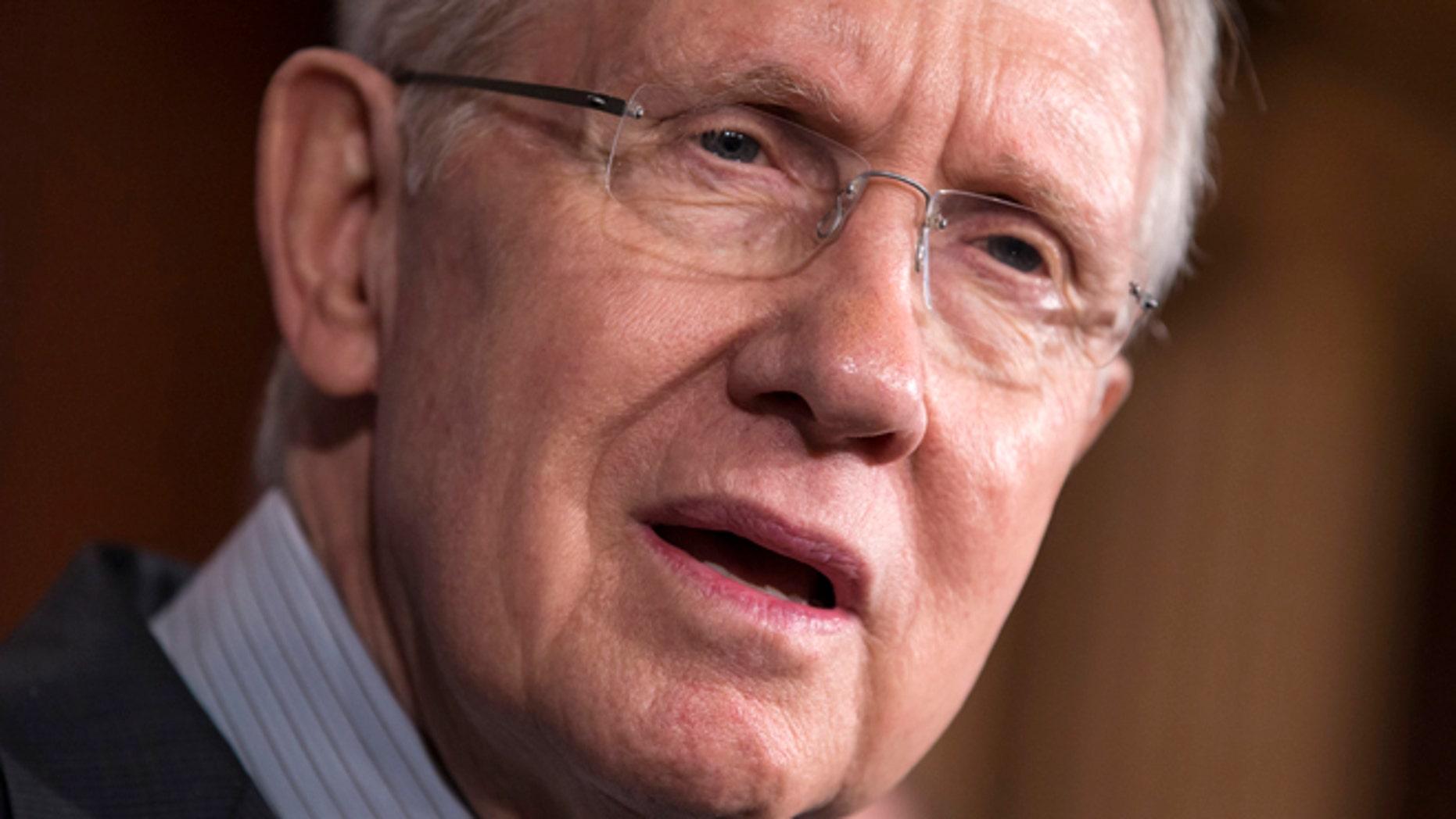 Oct. 3, 2013: Senate Majority Leader Harry Reid speaks on Capitol Hill in Washington.