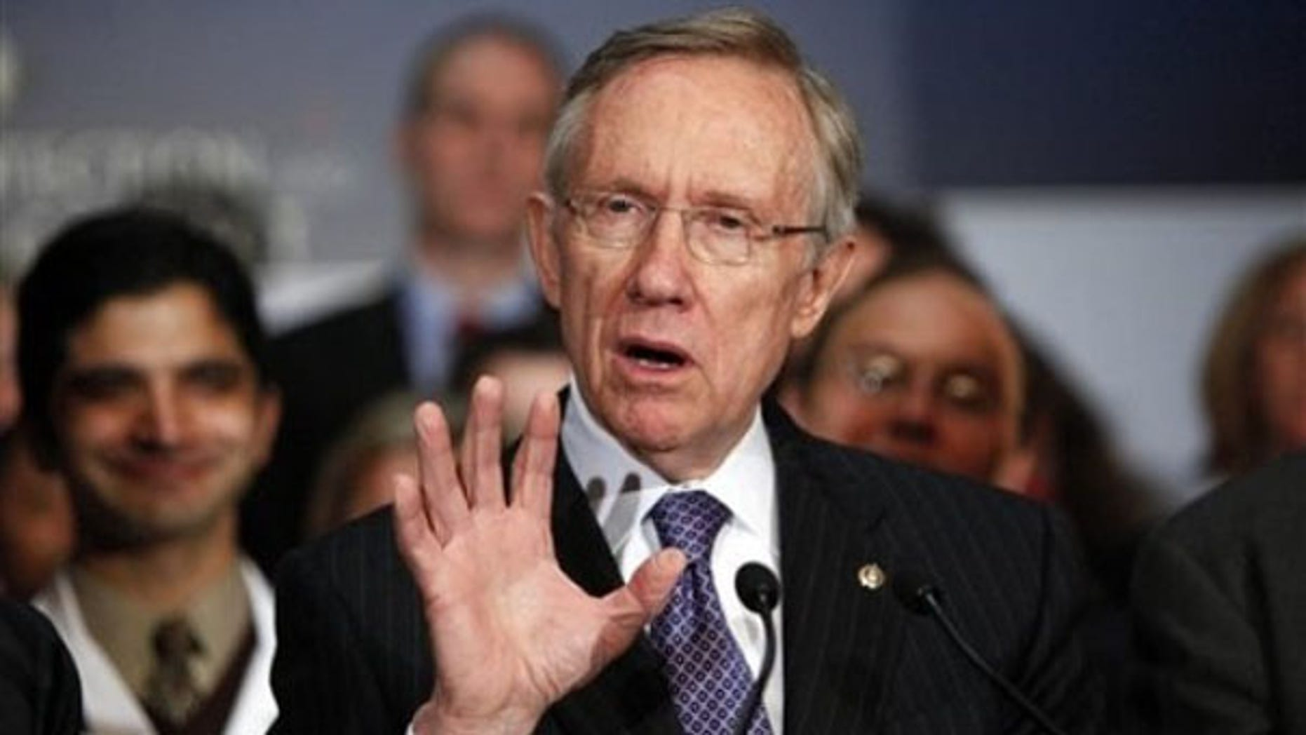 Senate Majority Leader Harry Reid speaks at a news conference on Capitol Hill Dec. 22. (AP Photo)