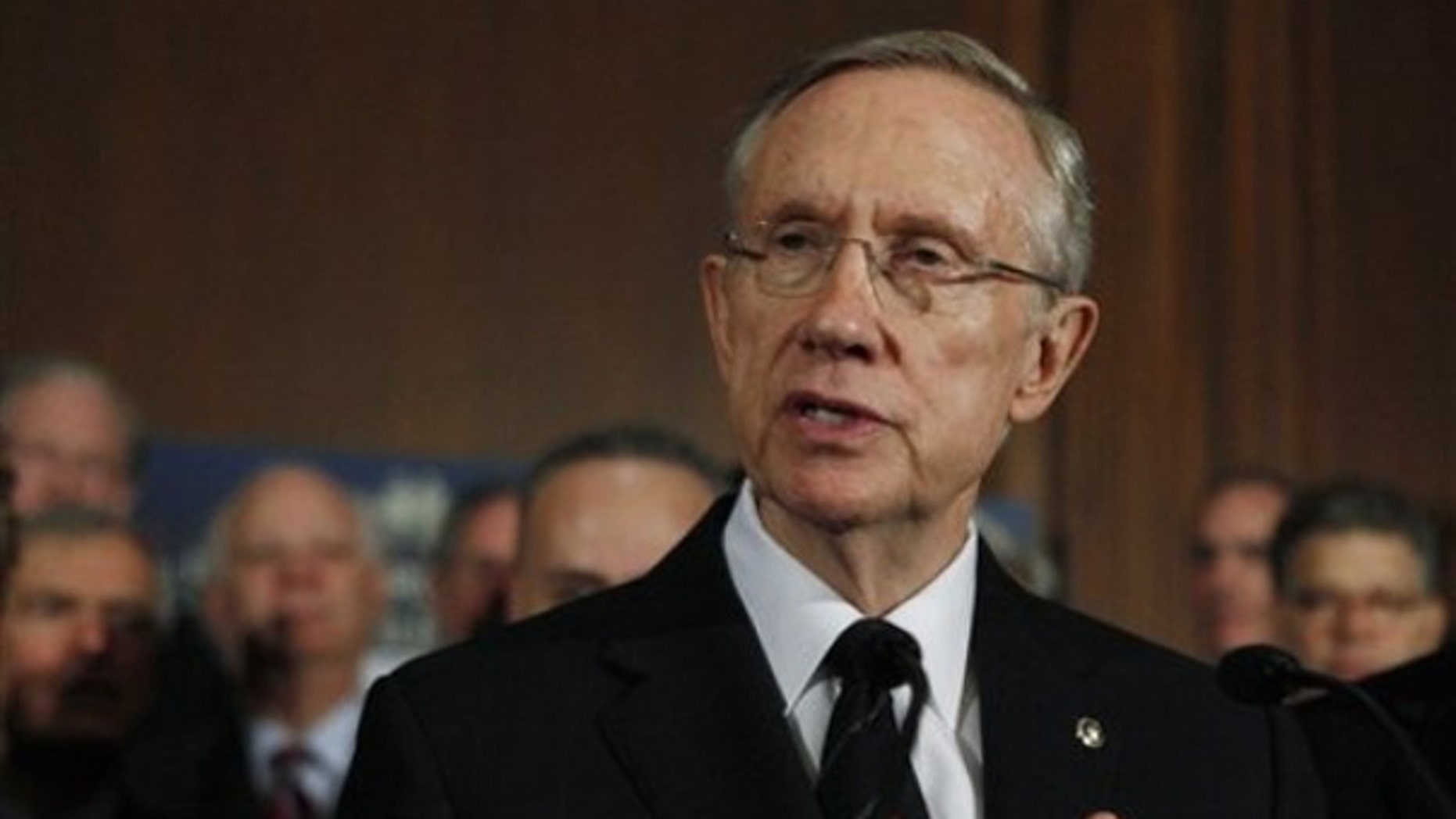 Senate Majority Leader Harry Reid gestures during a health care news conference on Capitol Hill Dec. 23. (AP Photo)