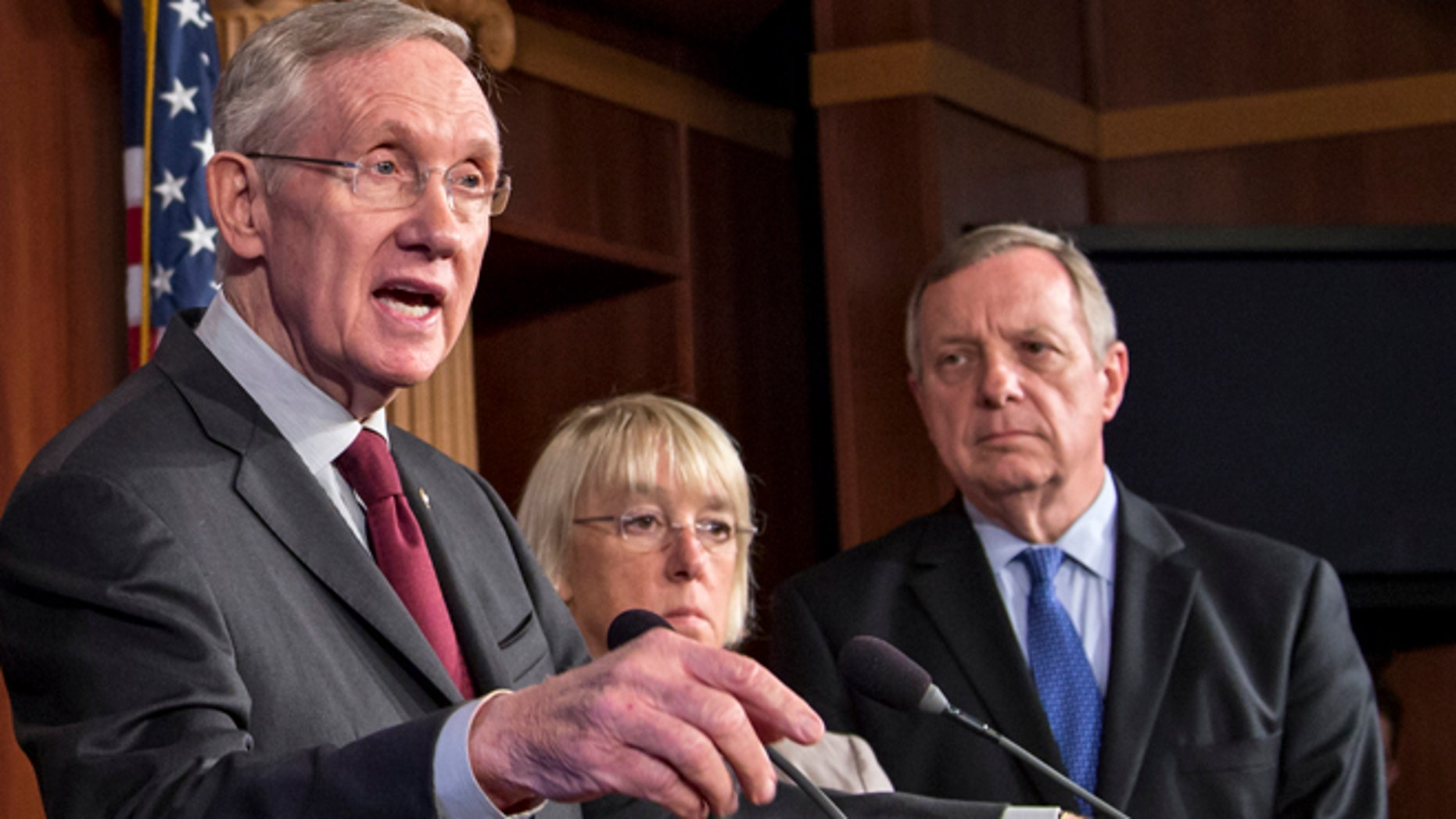Sept. 30, 2013: Senate Majority Leader Harry Reid of Nev., Senate Budget Committee Chair Sen. Patty Murray, D-Wash. and Senate Majority Whip Richard Durbin of Ill. speak during a news conference on Capitol Hill.