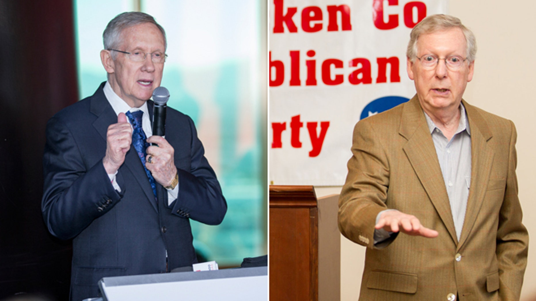 In this Monday, Oct. 27, 2014, Senator Harry Reid speaks before the revealing of the world's largest rooftop solar array in Las Vegas. and U.S. Sen. Mitch McConnell speaks in Paducah, Ky., Wednesday, Oct. 29, 2014.