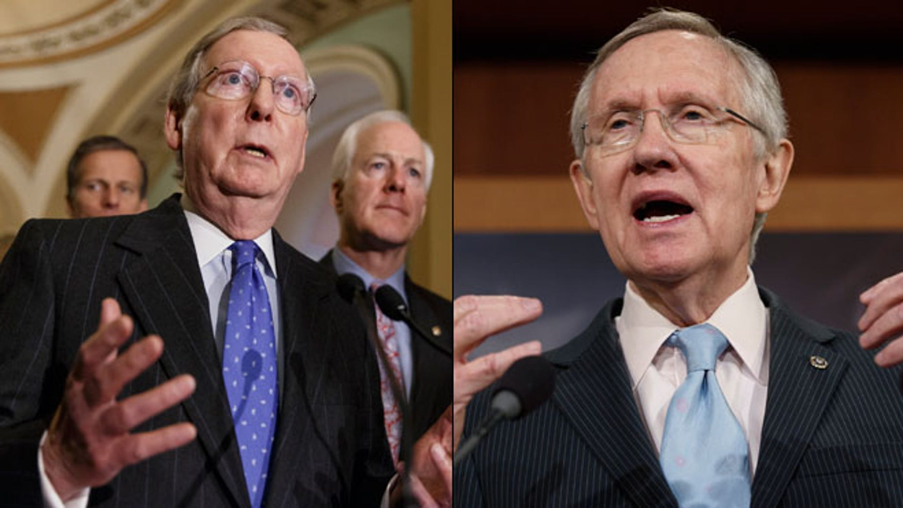 Shown here are Senate Republican Leader Mitch McConnell, left, and Democratic Leader Harry Reid.