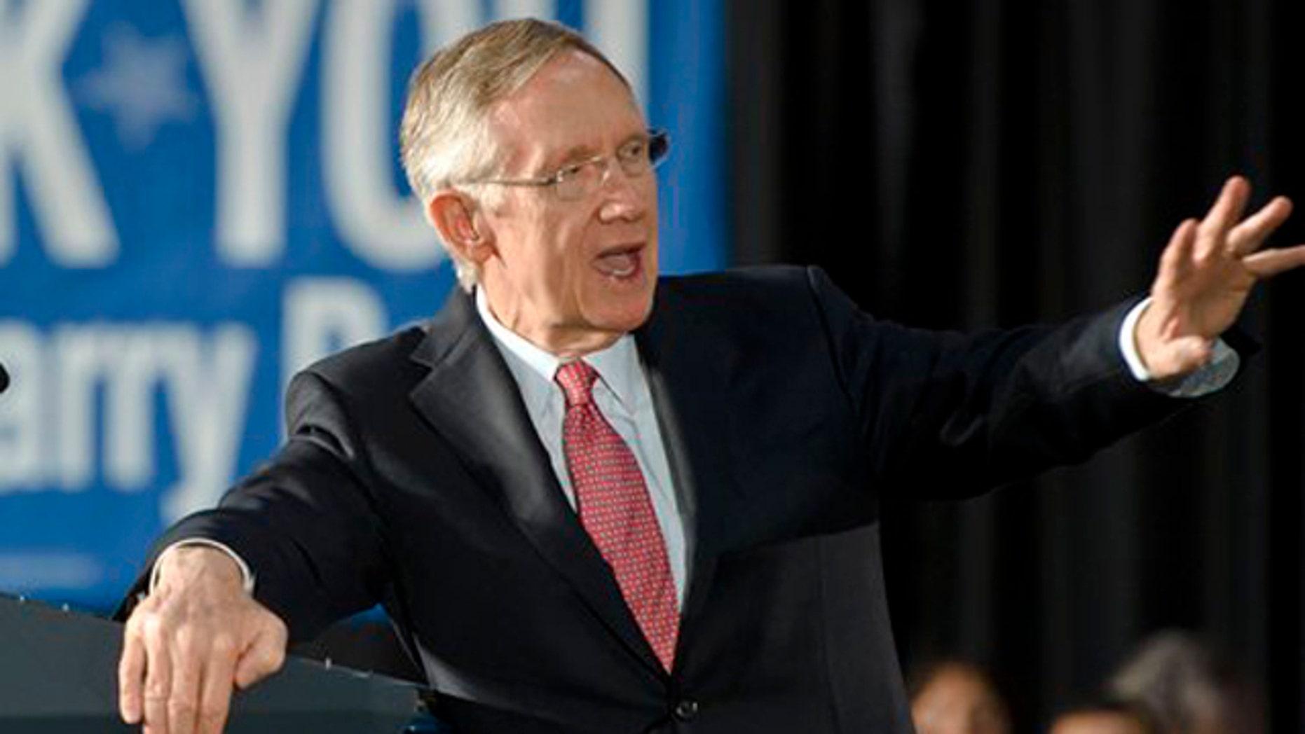 Sen. Harry Reid speaks at a rally at the University of Nevada, Reno campus Oct. 20.(AP Photo)