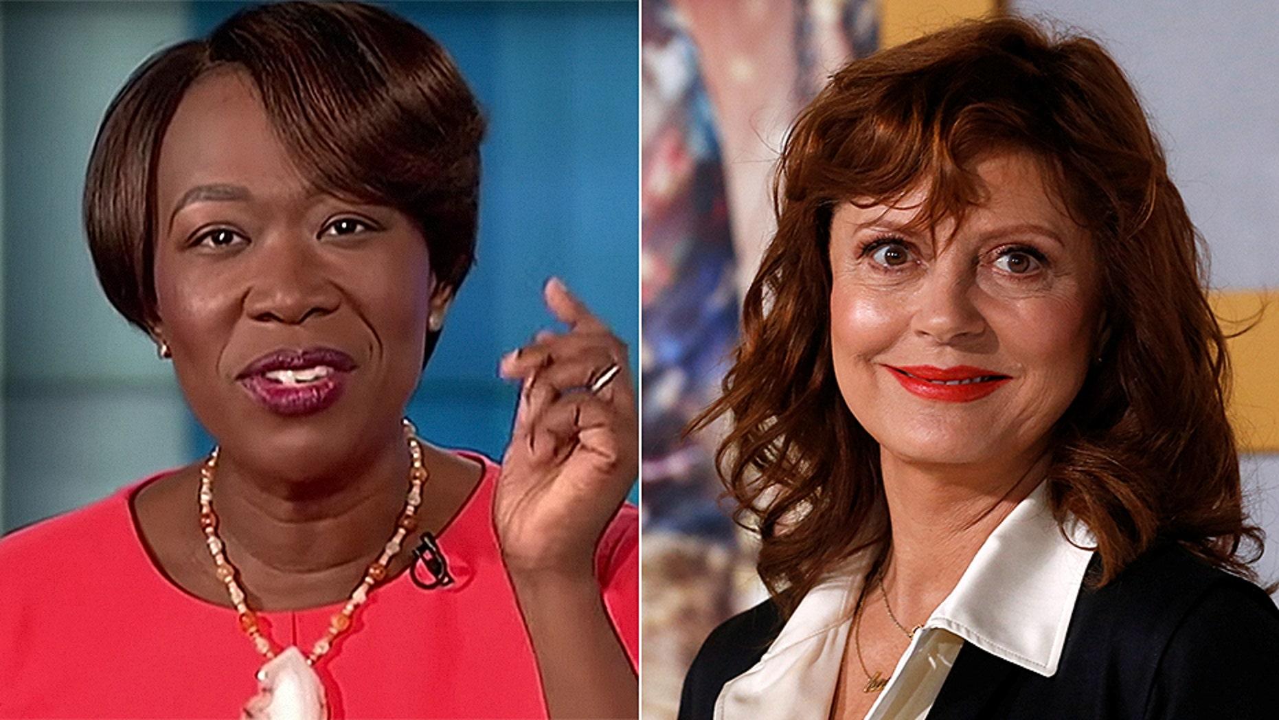 Outspoken liberal actress Susan Sarandon, right, wonders why MSNBC isn't demanding answers from embattled star Joy Reid.