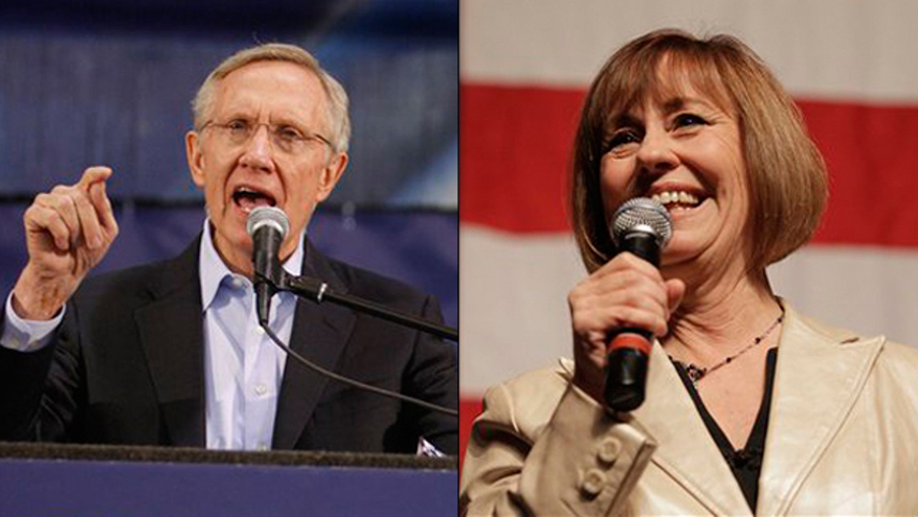 Shown here are Senate Majority Leader Harry Reid, left, and Nevada Republican Senate nominee Sharron Angle. (AP Photos)