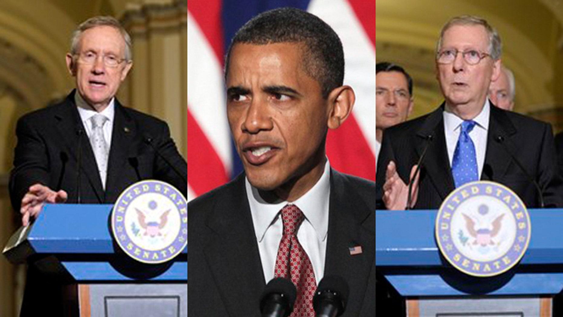 Shown here are Senate Democratic Leader Harry Reid, left, President Obama and Senate Republican Leader Mitch McConnell.