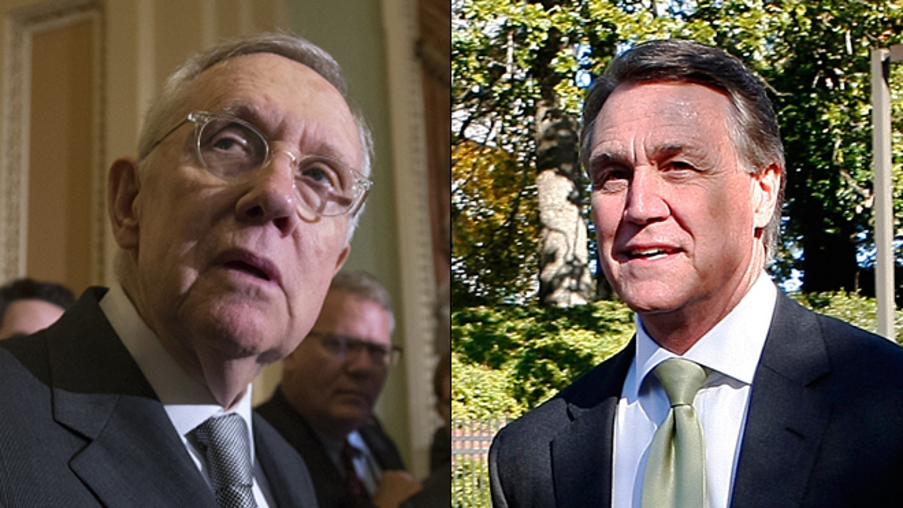 At left, Senate Minority Leader Harry Reid; at right, Sen. David Perdue. (AP/Reuters)