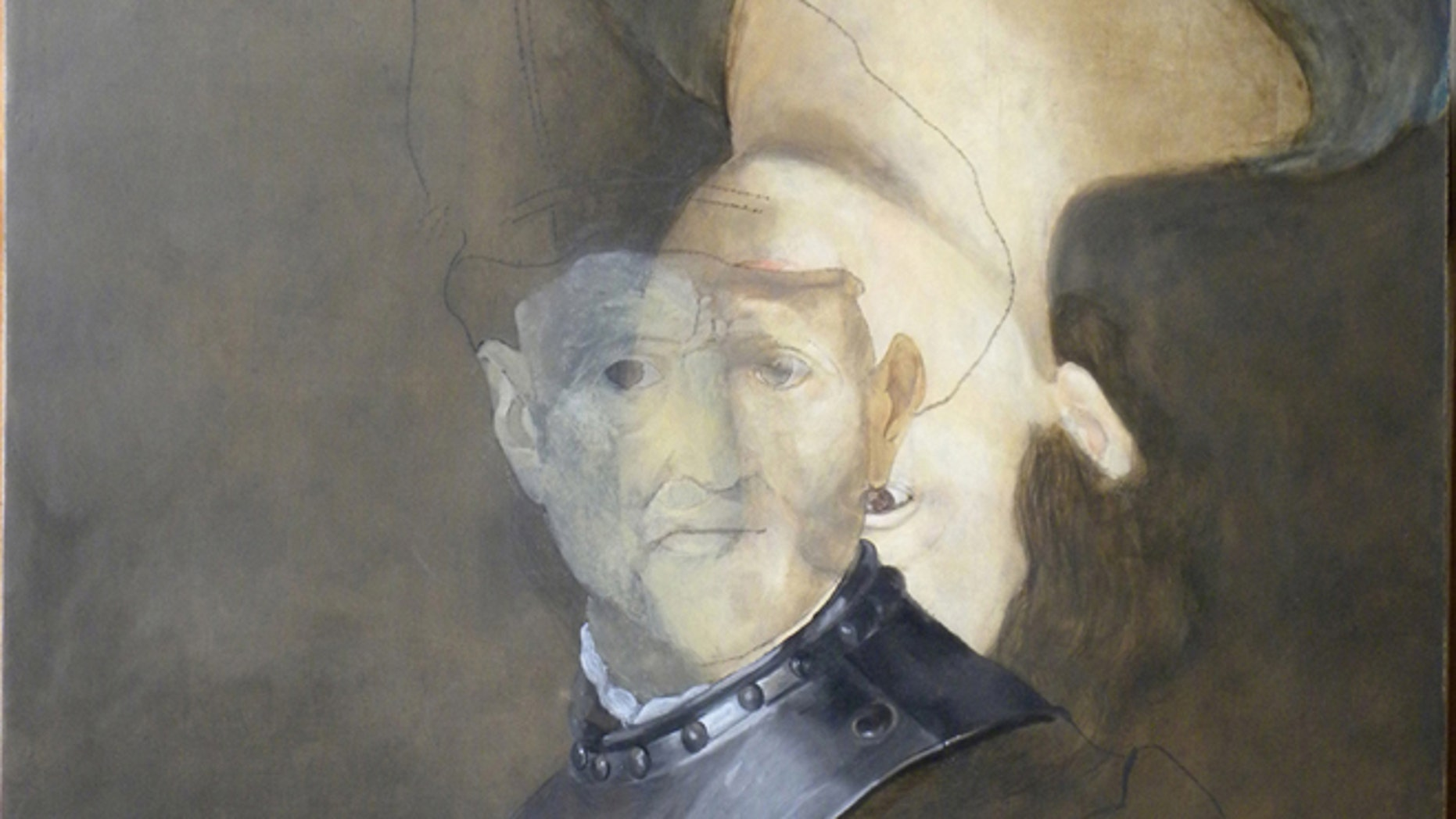 """Half-finished mock-up of Rembrandt's """"Old Man in Military Costume,"""" with a portrait painted underneath the final work."""