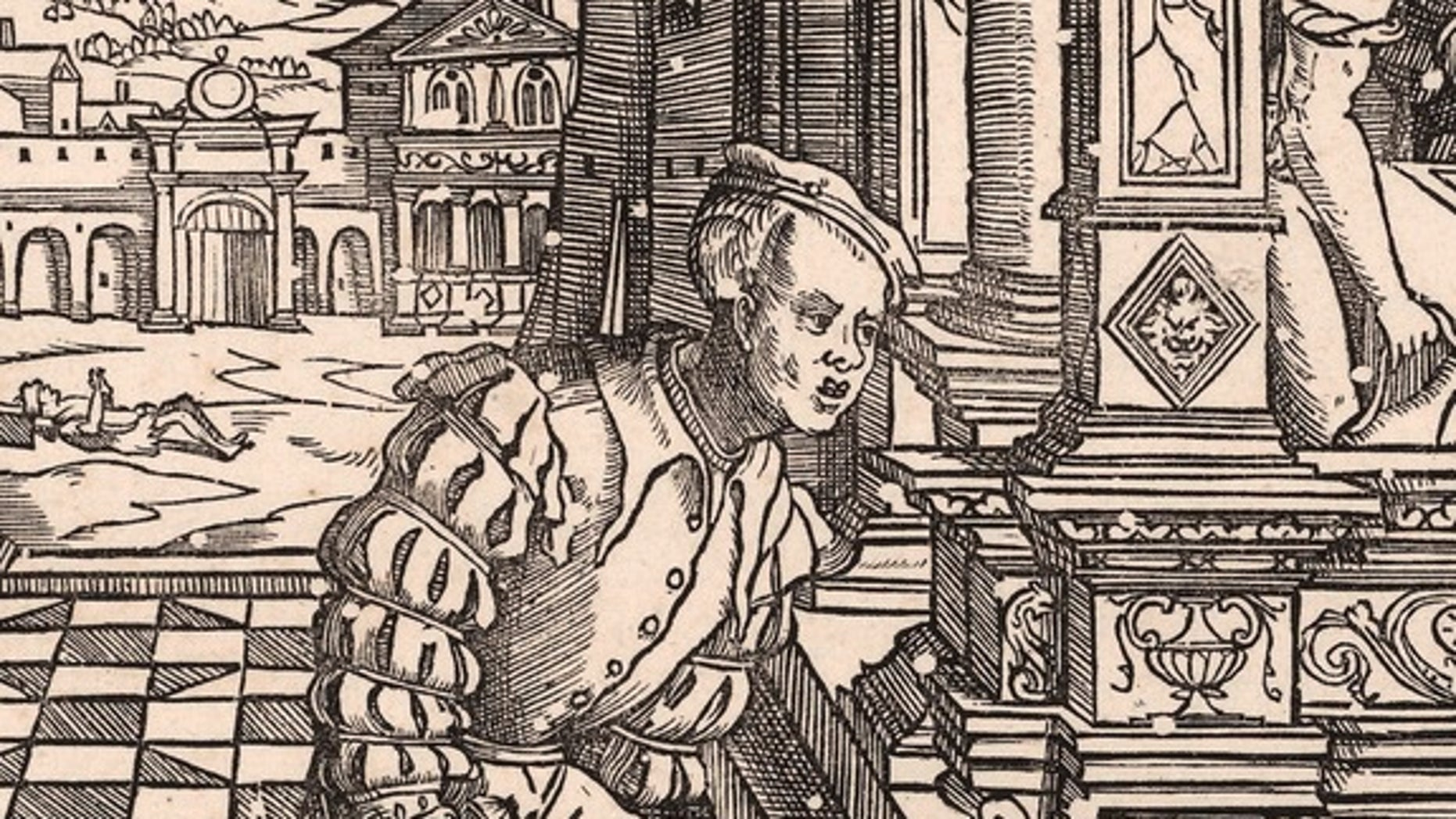 """The 1541 woodcut """"De Rijke Man"""" (The Rich Man) by Cornelius Anthonisz. White circles reveal where furniture beetles gnawed through the wood block before printing."""