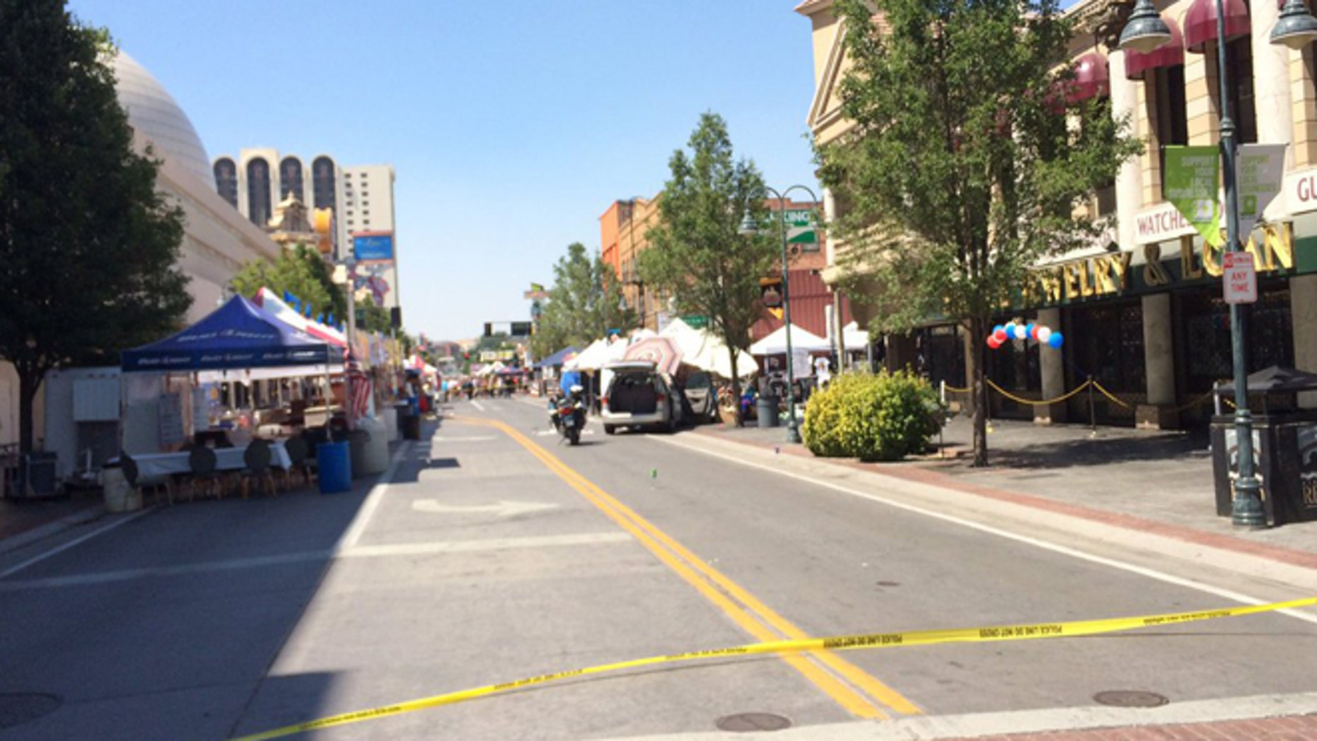 July 3, 2016: The scene at Wing Fest in downtown Reno after a man was shot by police.