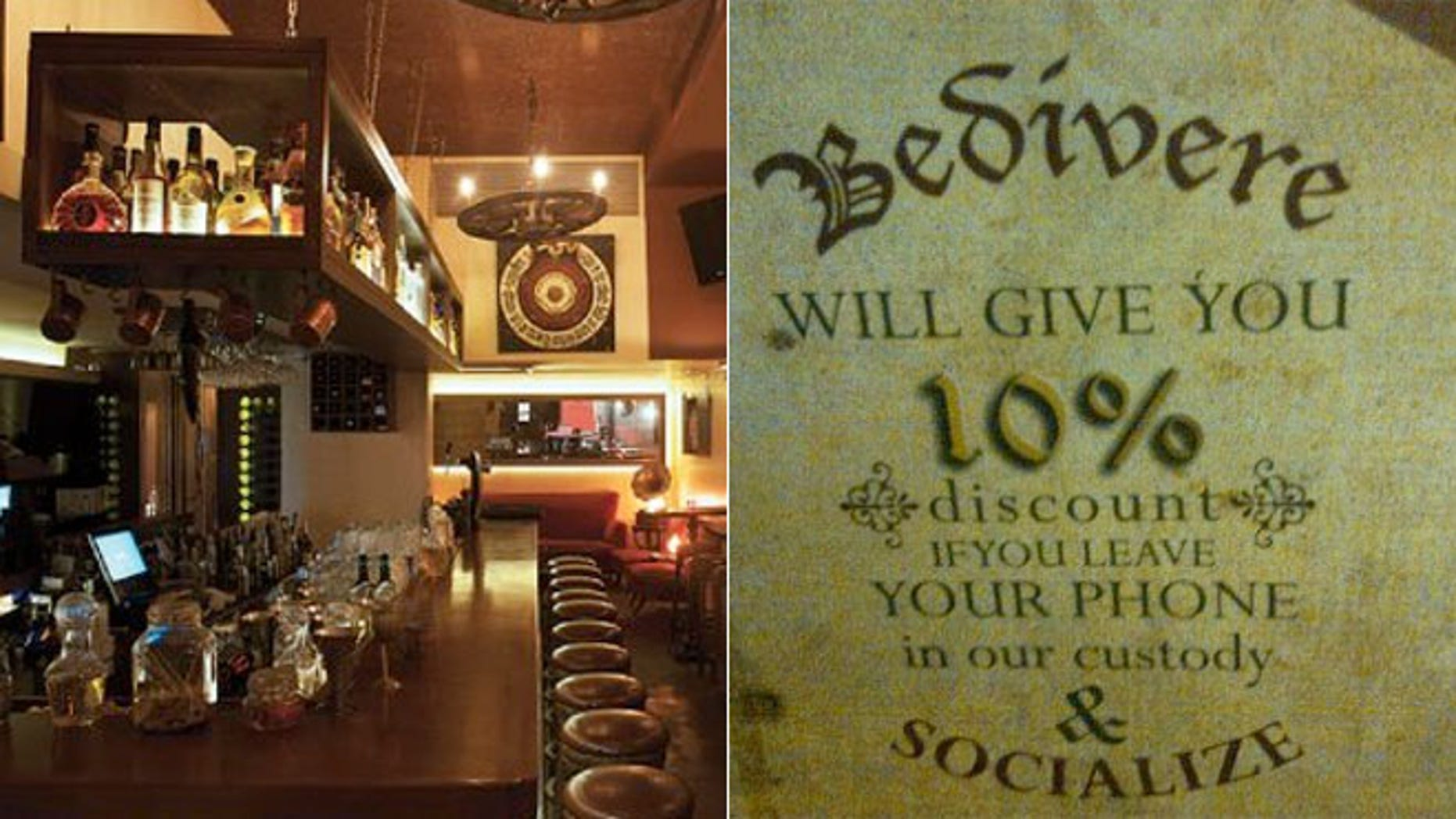 Bedivere Eatery & Tavern in Beirut, Lebanon wants people to socialize, not talk on the phone, during their meal.