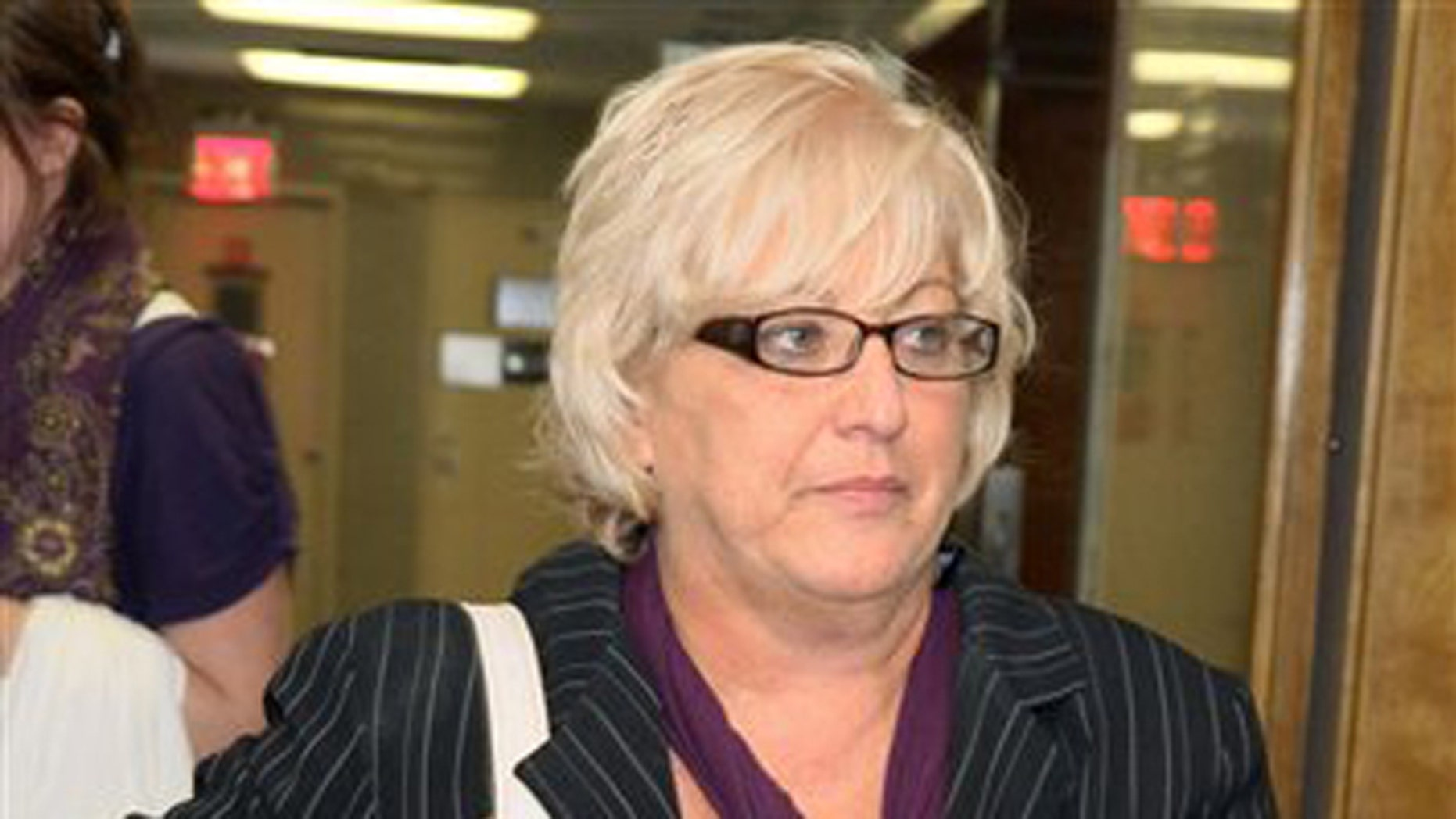 Sept. 23, 2011: In this file photo, Barbara Sheehan leaves a New York courtroom as her trial breaks for the day.
