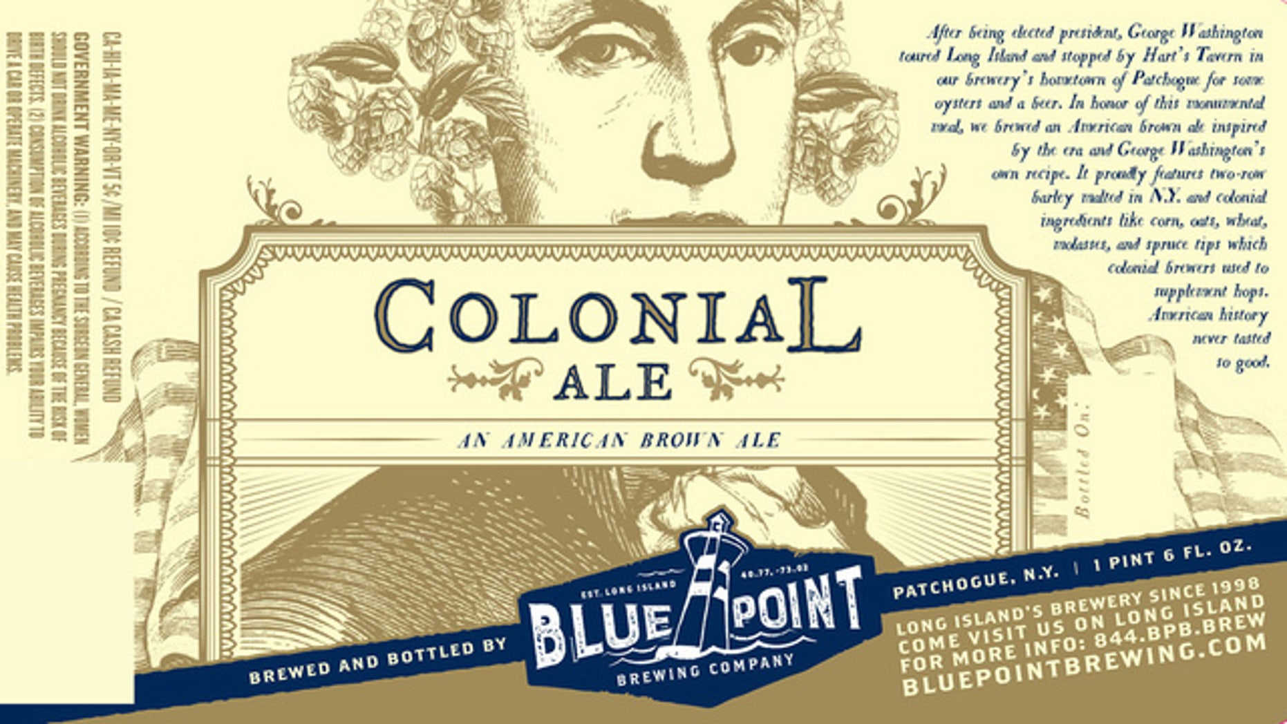 """The label for a new beer called """"Colonial Ale,"""" inspired by a recipe penned by George Washington."""
