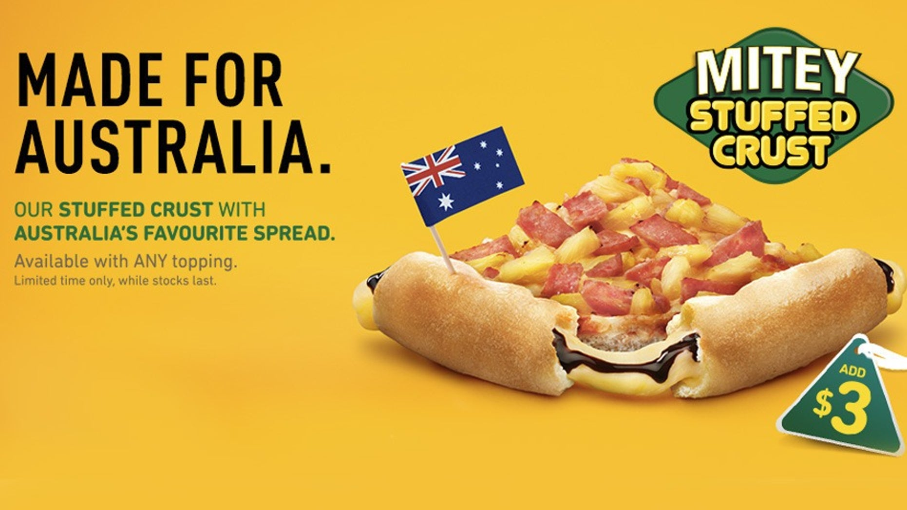 The new Vegemite stuffed crust is available for a limited time only.