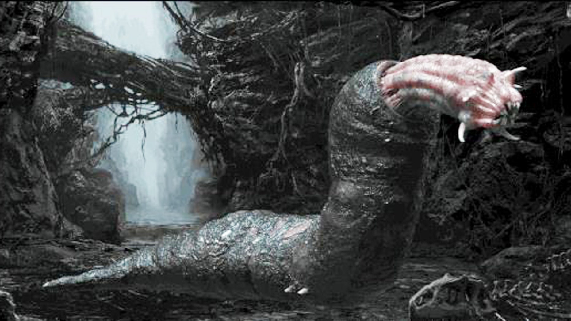 """This giant slug is one of many terrifying creatures you'll encounter on """"Skull Island: Reign of Kong."""""""