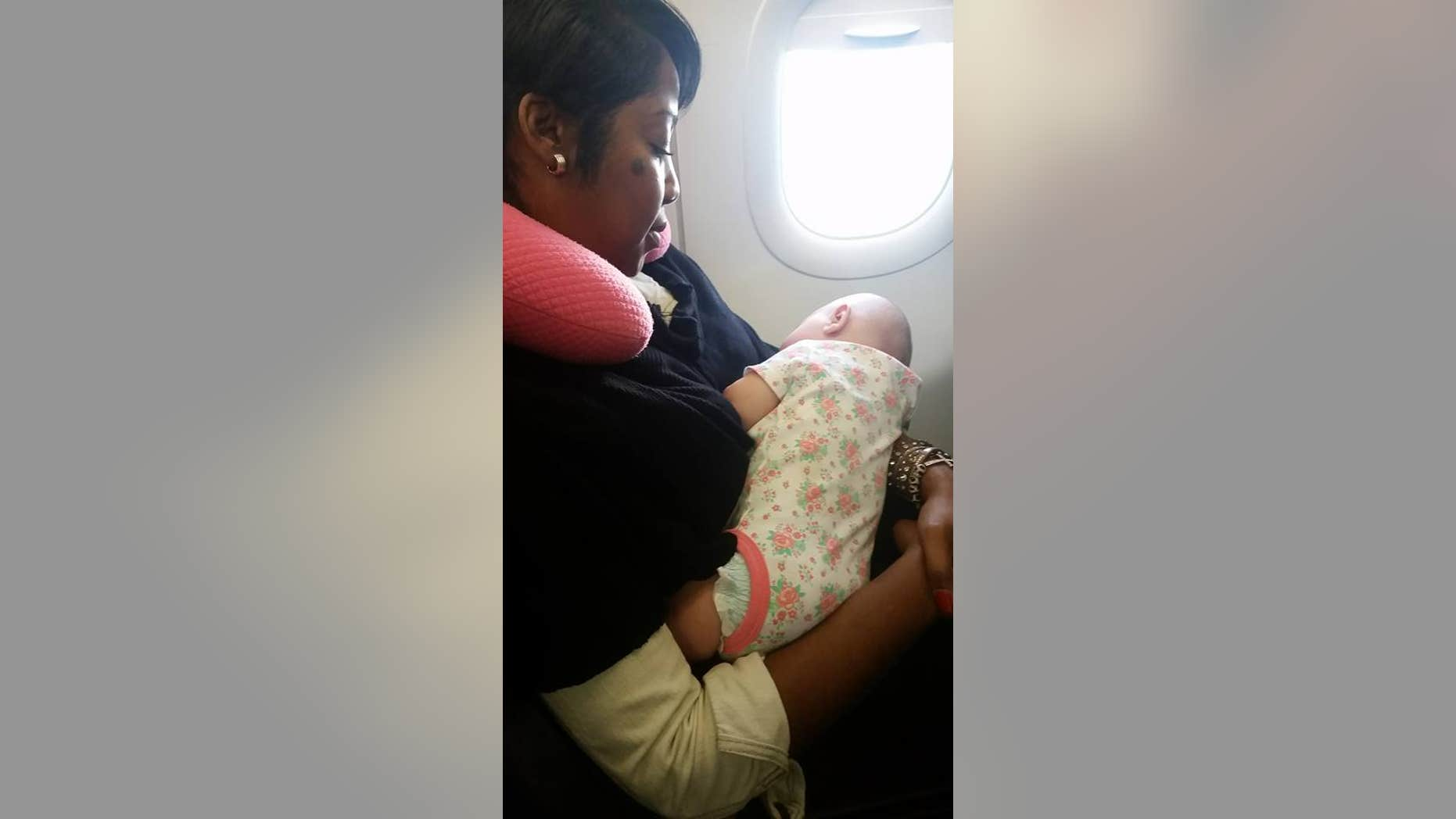 Nyfesha Miller stepped in to help quiet a stranger's newborn on a long flight.