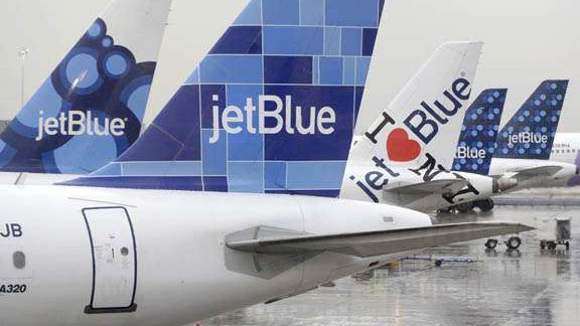 JetBlue airplanes gates at John F. Kennedy International Airport.
