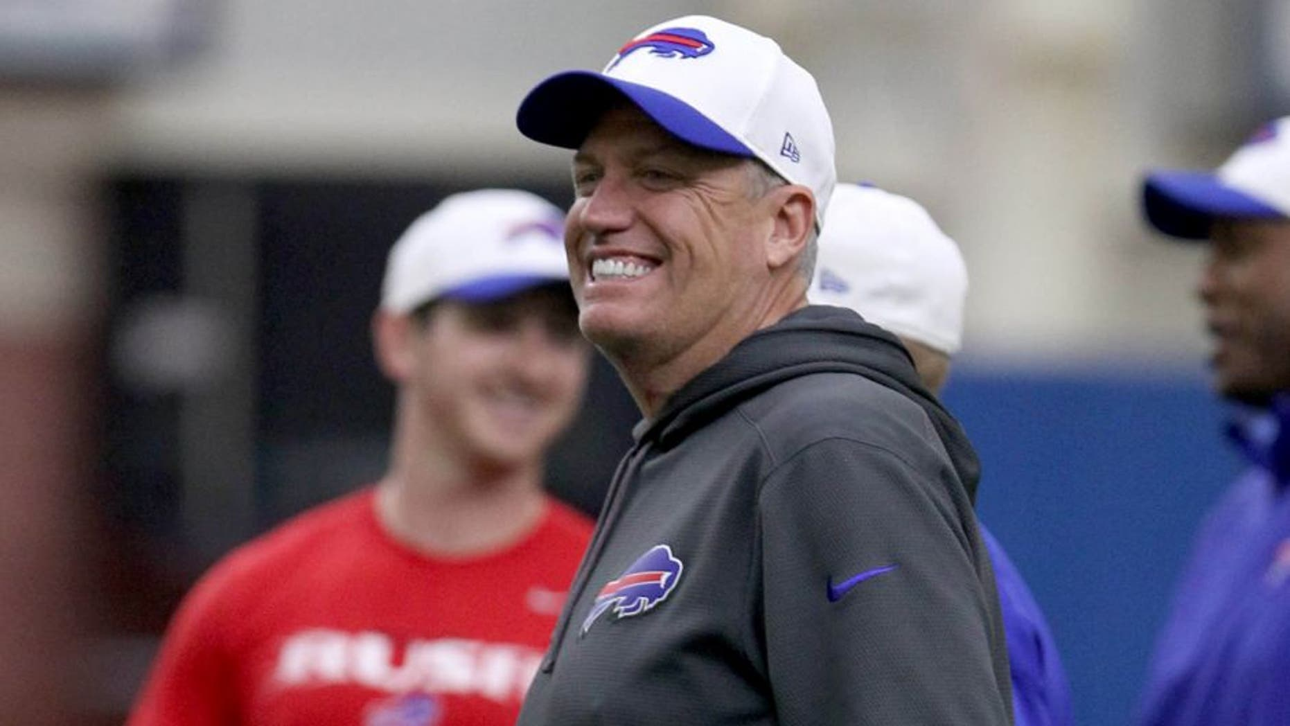 Jun 16, 2015; Buffalo, NY, USA; Buffalo Bills head coach Rex Ryan watches his team during minicamp at Ralph Wilson Fieldhouse. Mandatory Credit: Timothy T. Ludwig-USA TODAY Sports