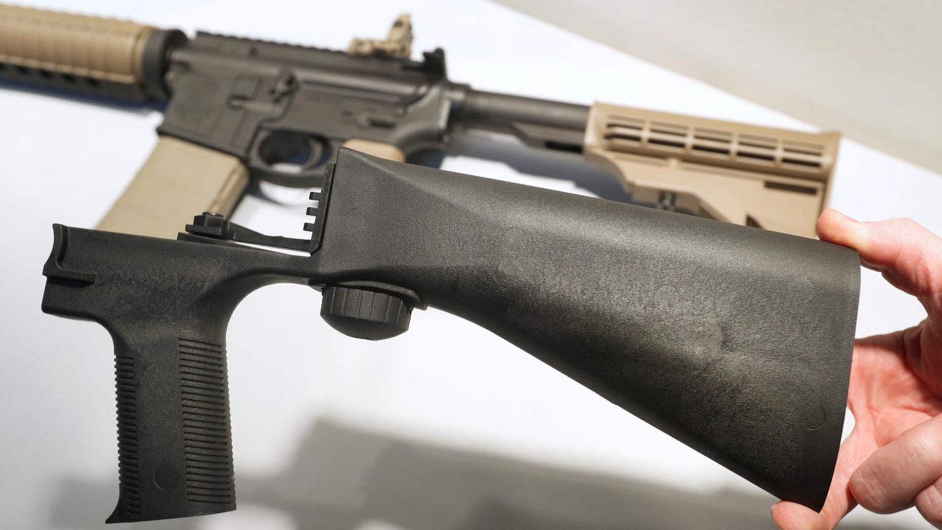 Oct. 4: A 'bump stock' that attaches to a semi-automatic rifle to increase the firing rate.