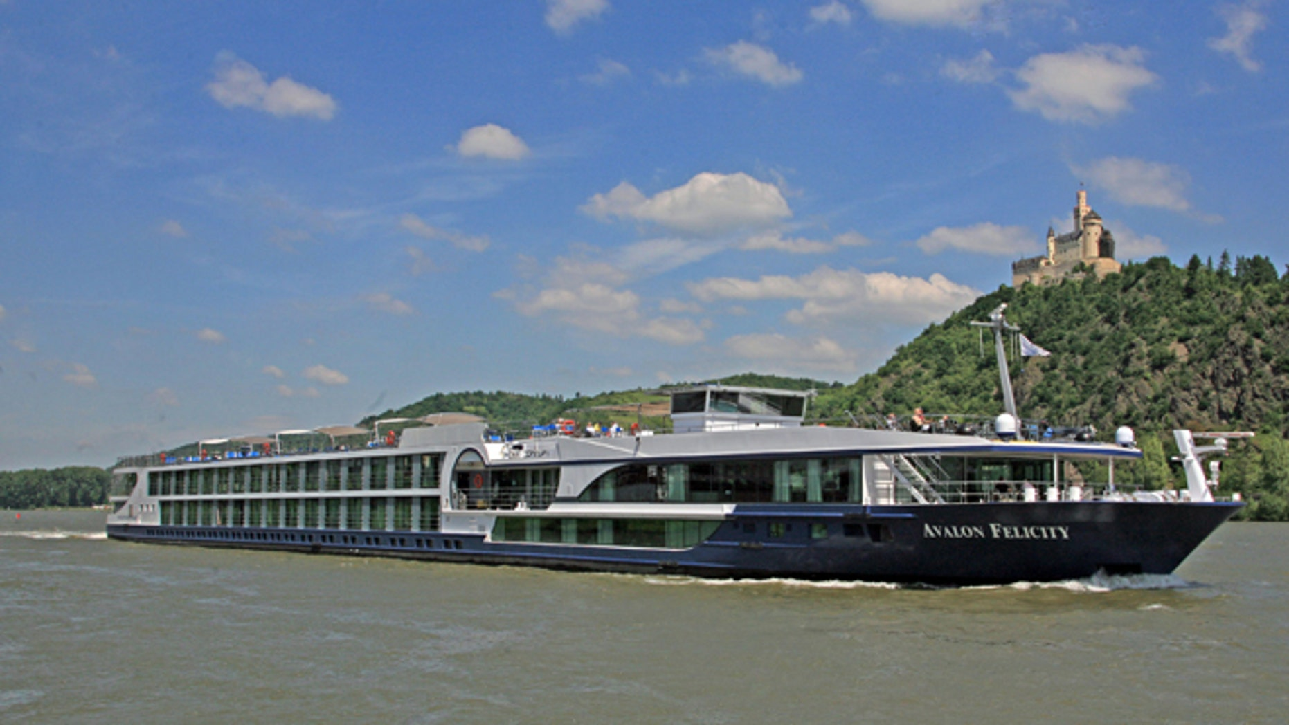 Avalon Felicity passes a castle on the Rhine River in Marksburg, Germany.