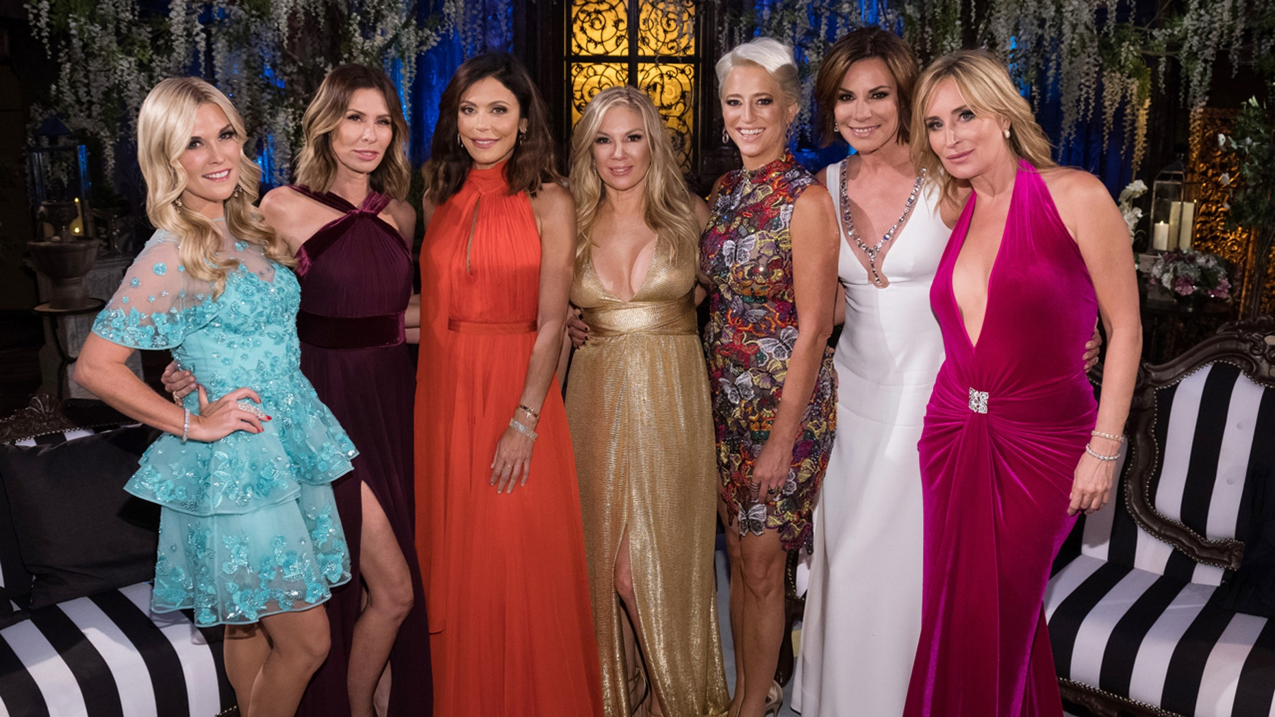 """THE REAL HOUSEWIVES OF NEW YORK CITY -- """"Reunion"""" -- Pictured: (l-r) Tinsley Mortimer, Carole Radziwill, Bethenny Frankel, Ramona Singer, Dorinda Medley, Luann D'Agostino, Sonja Morgan -- (Photo by: Charles Sykes/Bravo/NBCU Photo Bank via Getty Images)"""