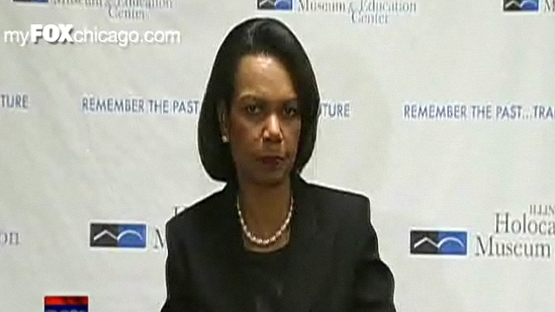 Former Secretary of State Condoleezza Rice speaks to reporters April 12 in Chicago.