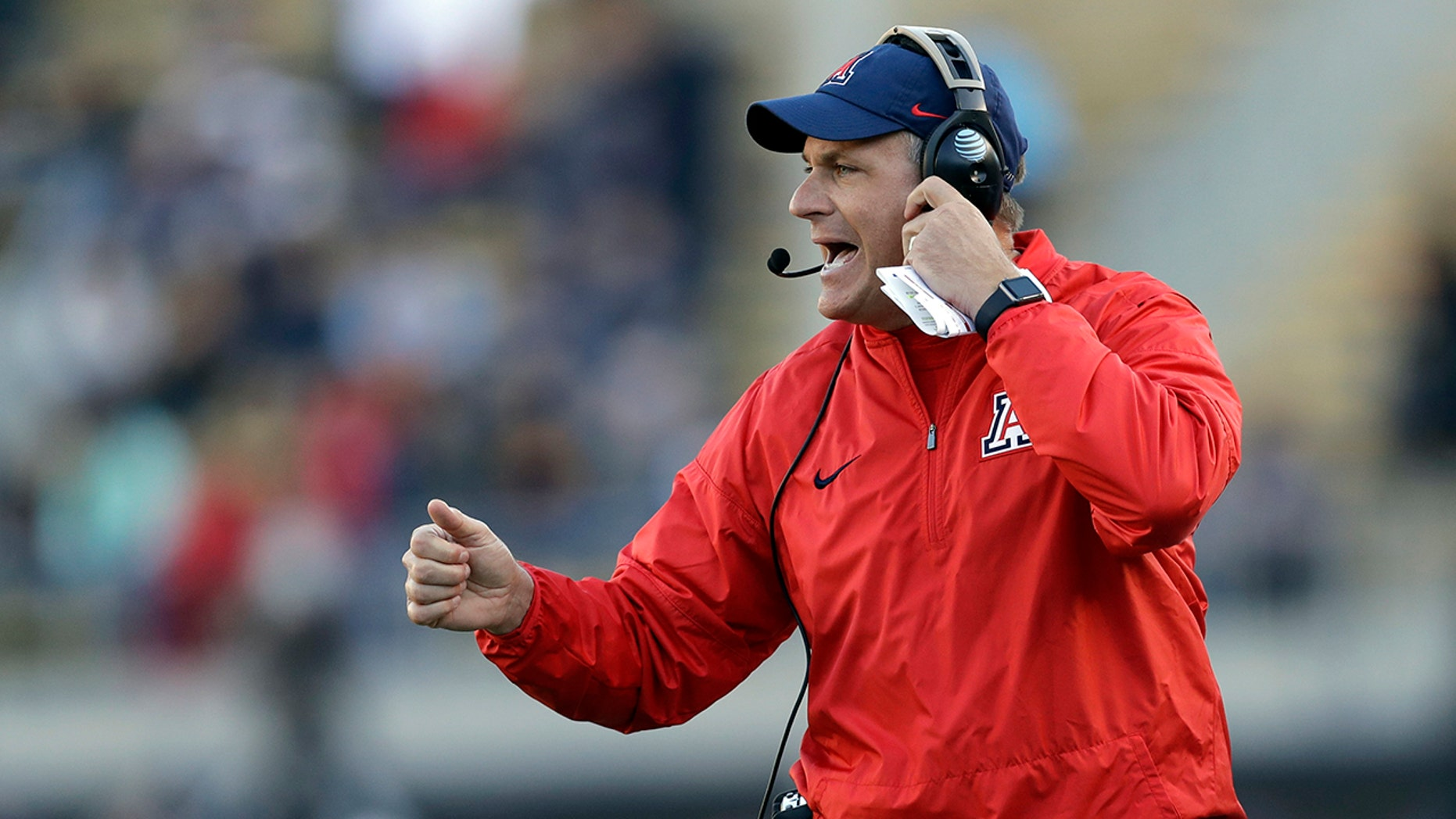 Oct. 21, 2017: Arizona coach Rich Rodriguez yells from the sideline during the first half of the team's NCAA college football game against California in Berkeley, Calif.