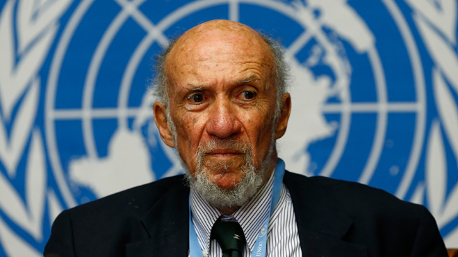 March 21, 2014: Richard Falk, the United Nations special rapporteur on occupied Palestine, addresses a news conference at the U.N. European headquarters in Geneva.