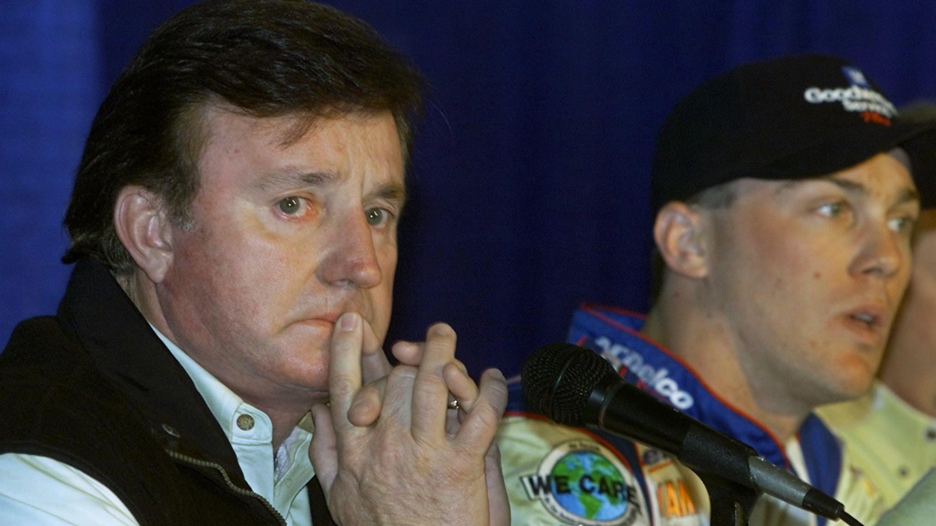 Richard Childress, left, answers questions during a news conference in North Carolina, Feb. 23, 2001. He shot at three intruders at his North Carolina home, authorities said Wednesday.