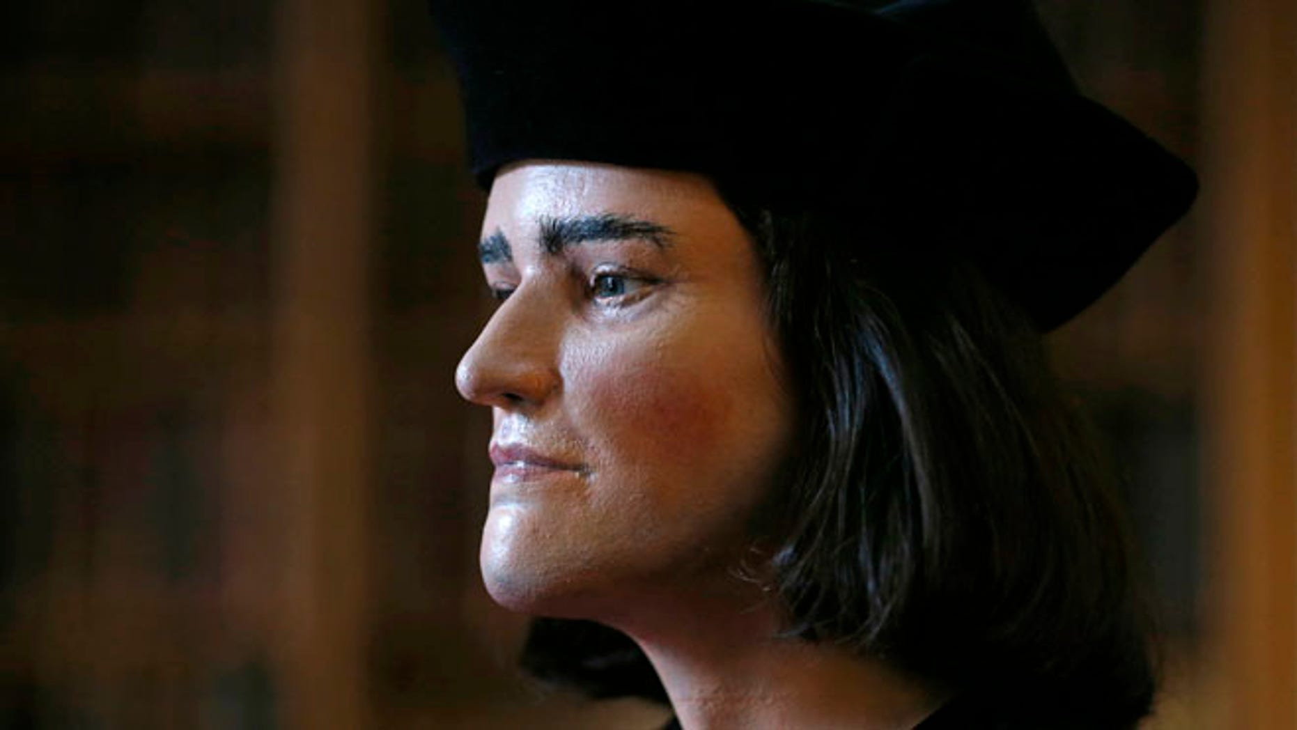 Feb. 5, 2013: A facial reconstruction of King Richard III is displayed at a news conference in central London. (Reuters)