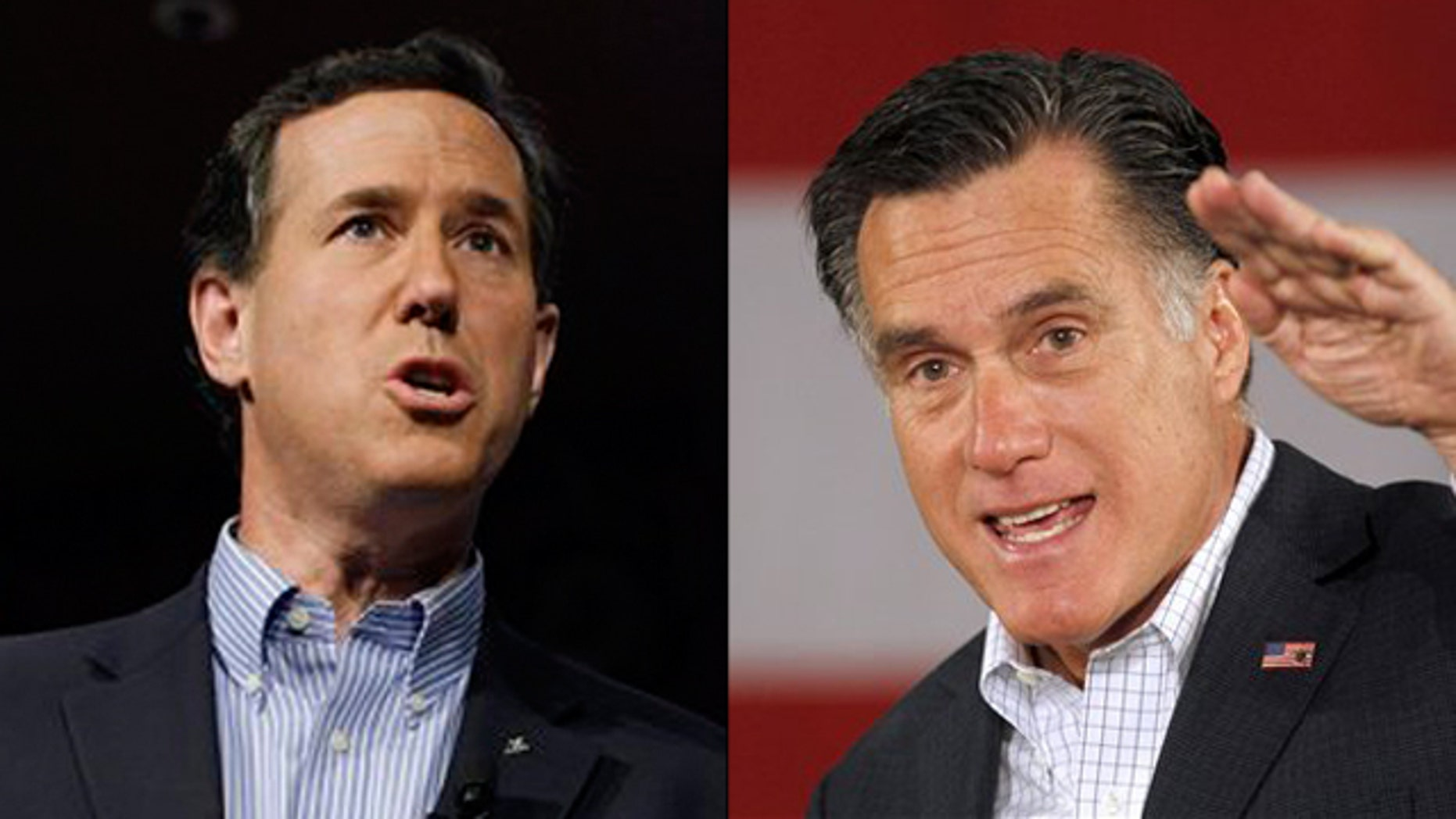 Shown here are Rick Santorum and Mitt Romney.