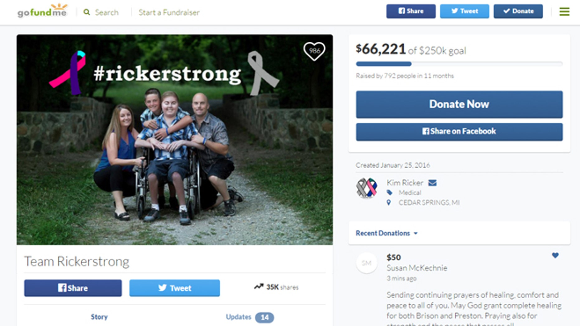 The Ricker family's two sons were diagnosed with cancer 11 months apart.