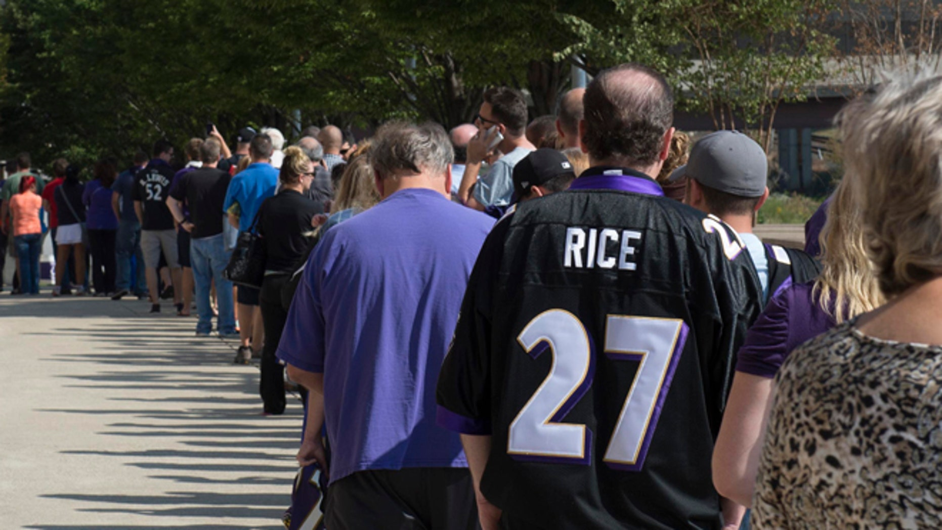 Sep 19: Baltimore Ravens fans wait in line over an hour to exchange their Ray Rice jerseys for new NFL jerseys at M&T Bank Stadium.