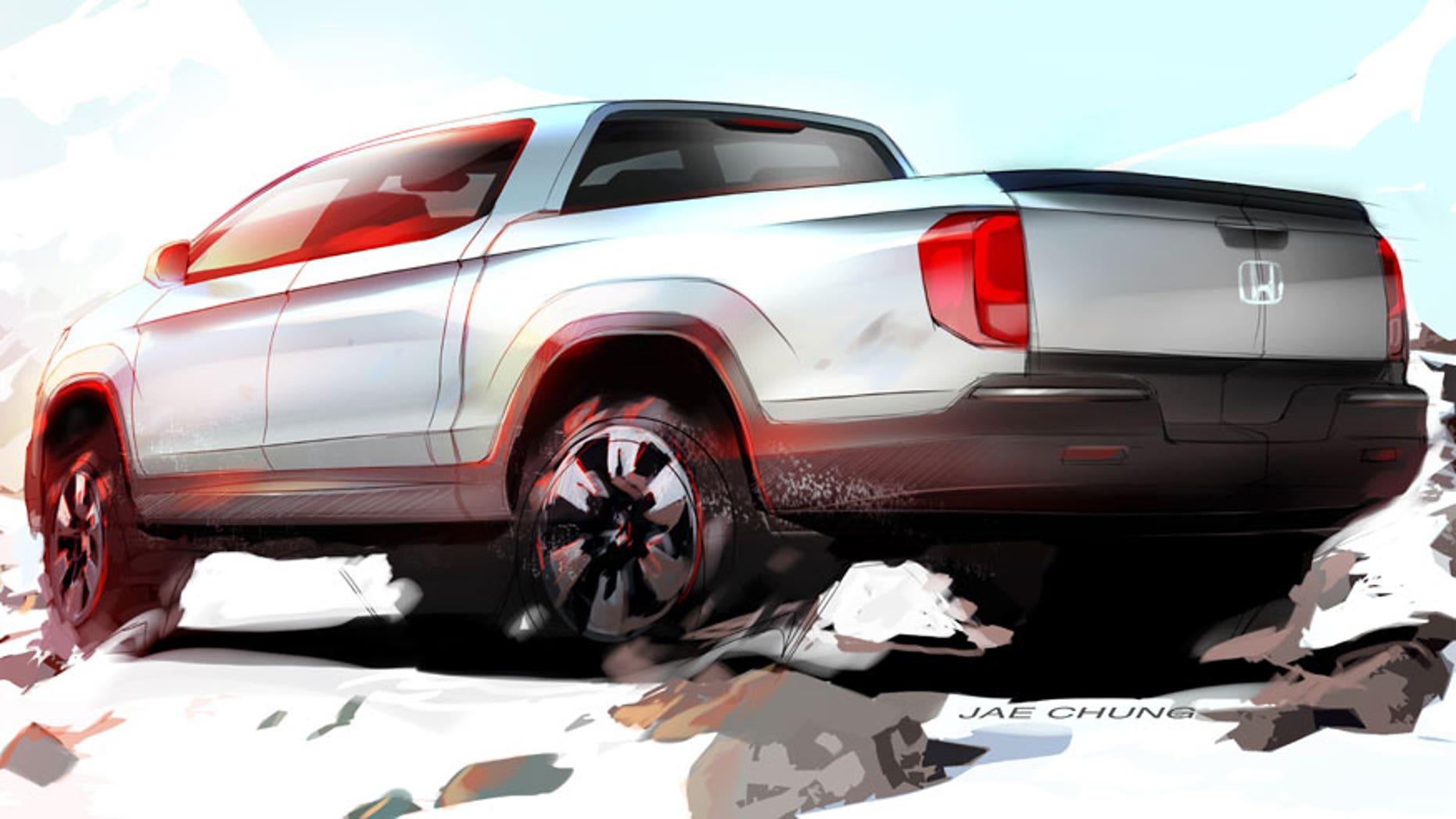 New Honda Ridgeline Design Partially Revealed In Sketch