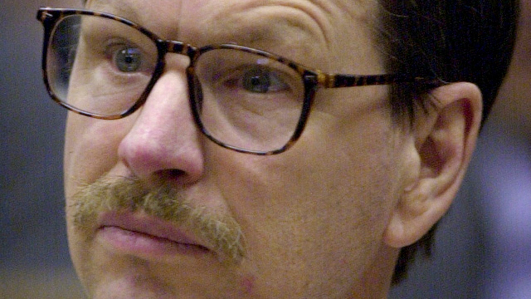 March 27, 2003: Gary Leon Ridgway appears at a pretrial hearing in King County Superior Court in Seattle. Ridgway, already serving 48 life terms in the Green River killings, is expected to plead guilty to Rebecca Marrero's murder at his arraignment Friday at the King County Regional Justice Center in Kent, Wash. (AP)
