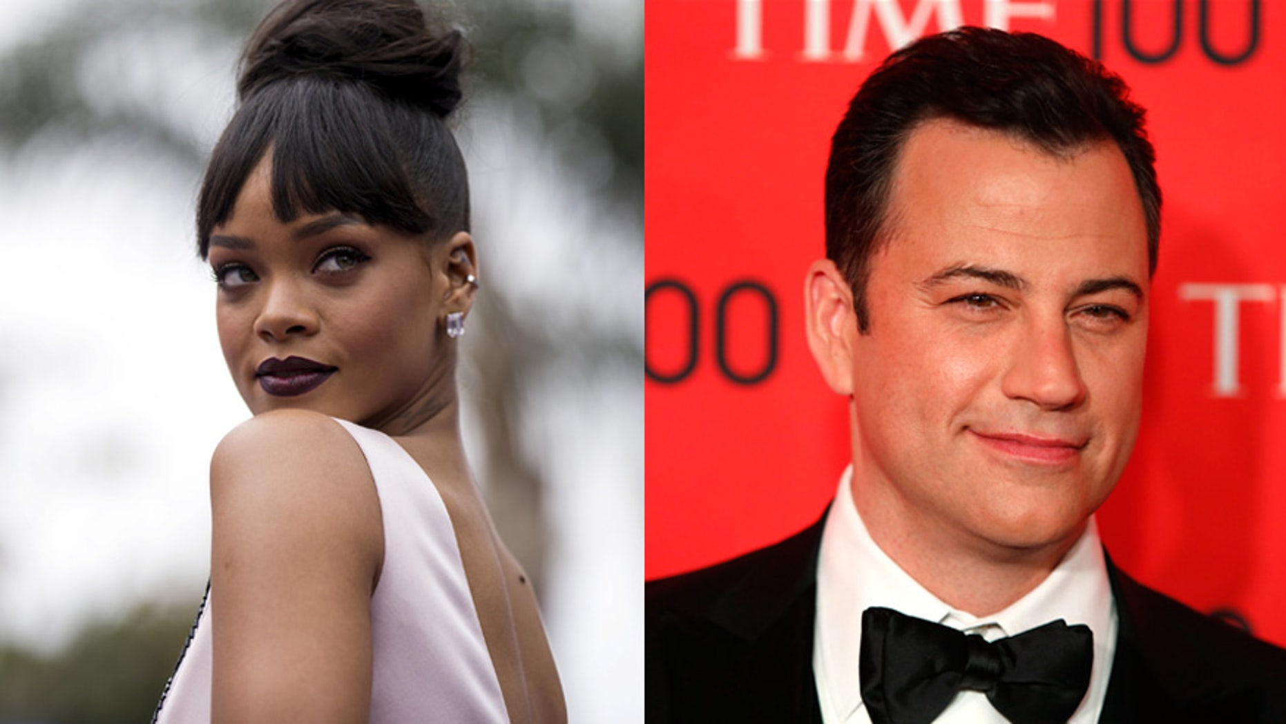 Rihanna, left, surprised Jimmy Kimmel for April Fools' Day.