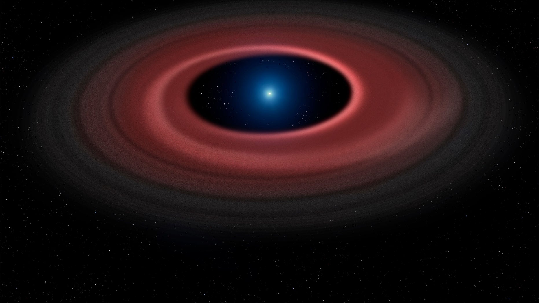 An asteroid torn apart by the strong gravity of a white dwarf has formed a ring of dust particles and debris orbiting the Earth-sized burnt out stellar core. Gas produced by collisions within the disc is detected in observations obtained over 12 years with ESO's Very Large Telescope, and reveal a narrow glowing arc. (Mark Garlick and University of Warwick/ESO)