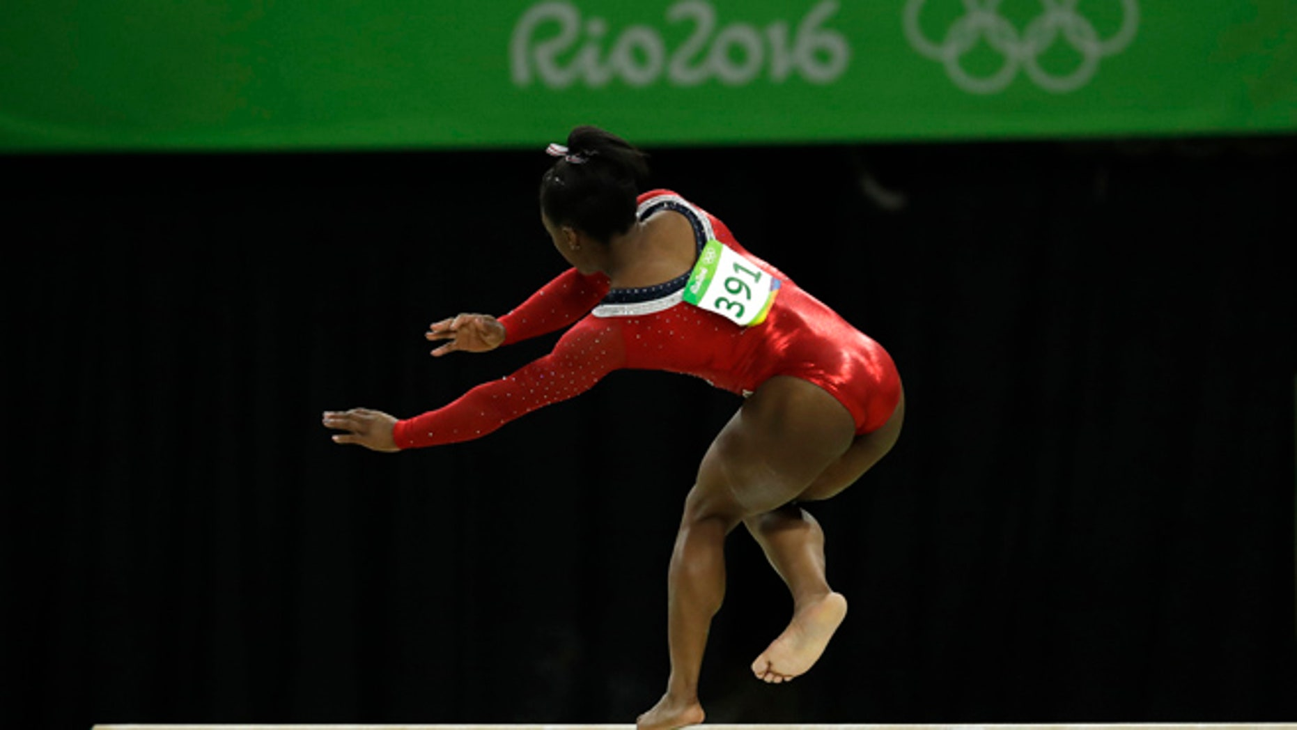 United States' Simone Biles stumbles during her performance on the balance beam during the artistic gymnastics women's apparatus final at the 2016 Summer Olympics in Rio de Janeiro, Brazil, Monday, Aug. 15, 2016.