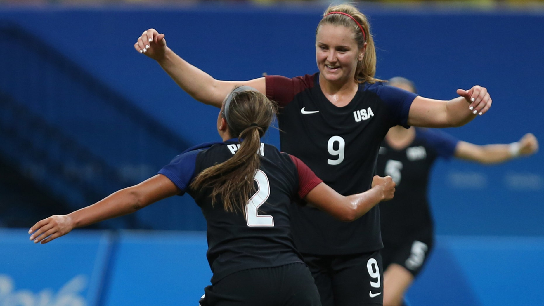 Aug. 9, 2016: United States' Mallory Pugh, left, is congratulated after scoring her side's 2nd goal by teammate Lindsey Horan during a group G match of the women's Olympic football tournament between Colombia and United States at the Arena Amazonia stadium in Manaus, Brazil.